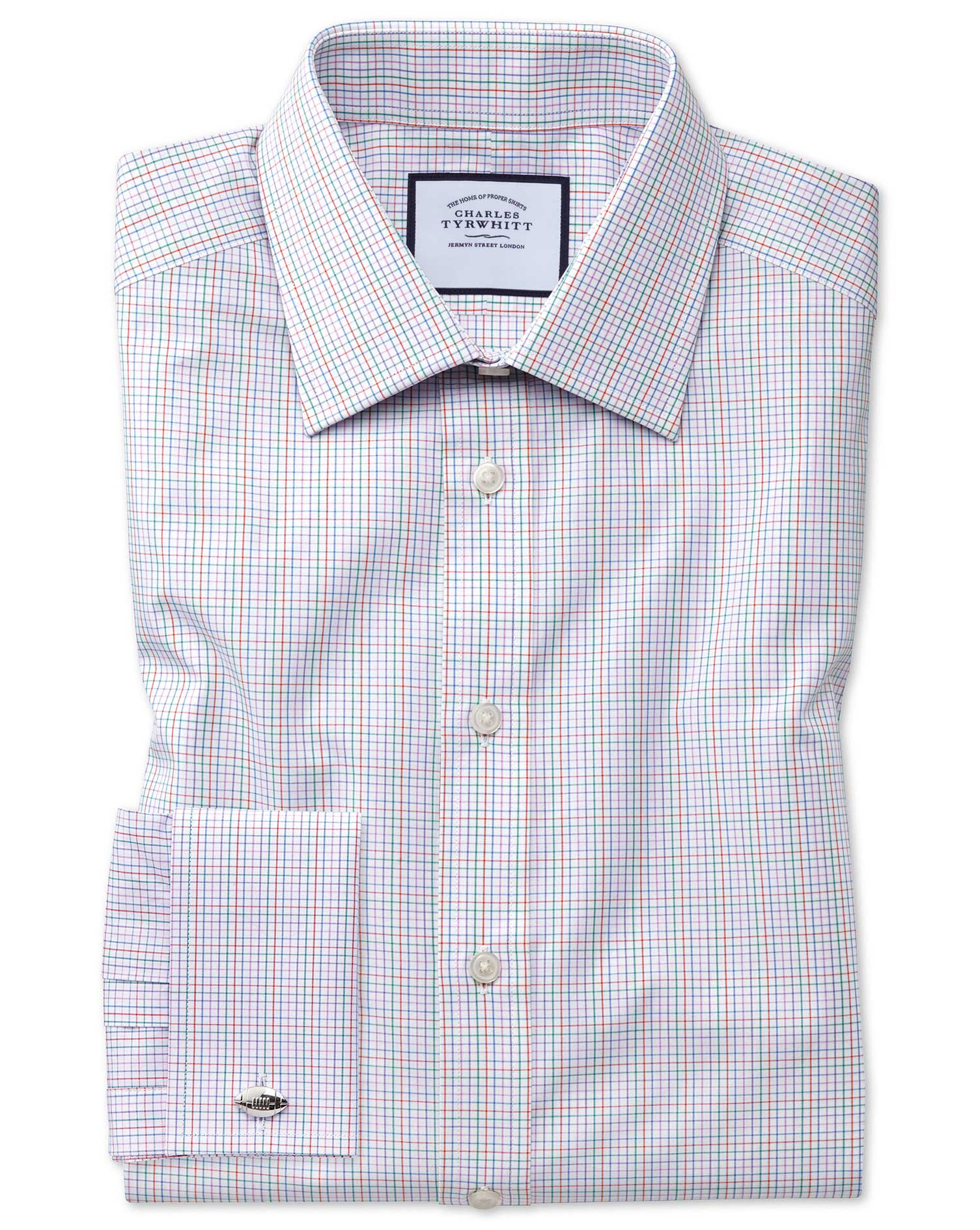 Slim Fit Pink Multi Check Egyptian Cotton Formal Shirt Double Cuff Size 18/37 by Charles Tyrwhitt