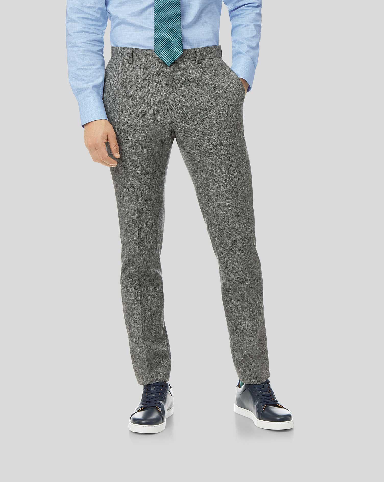 Wool Cotton Linen Suit Trousers - Grey