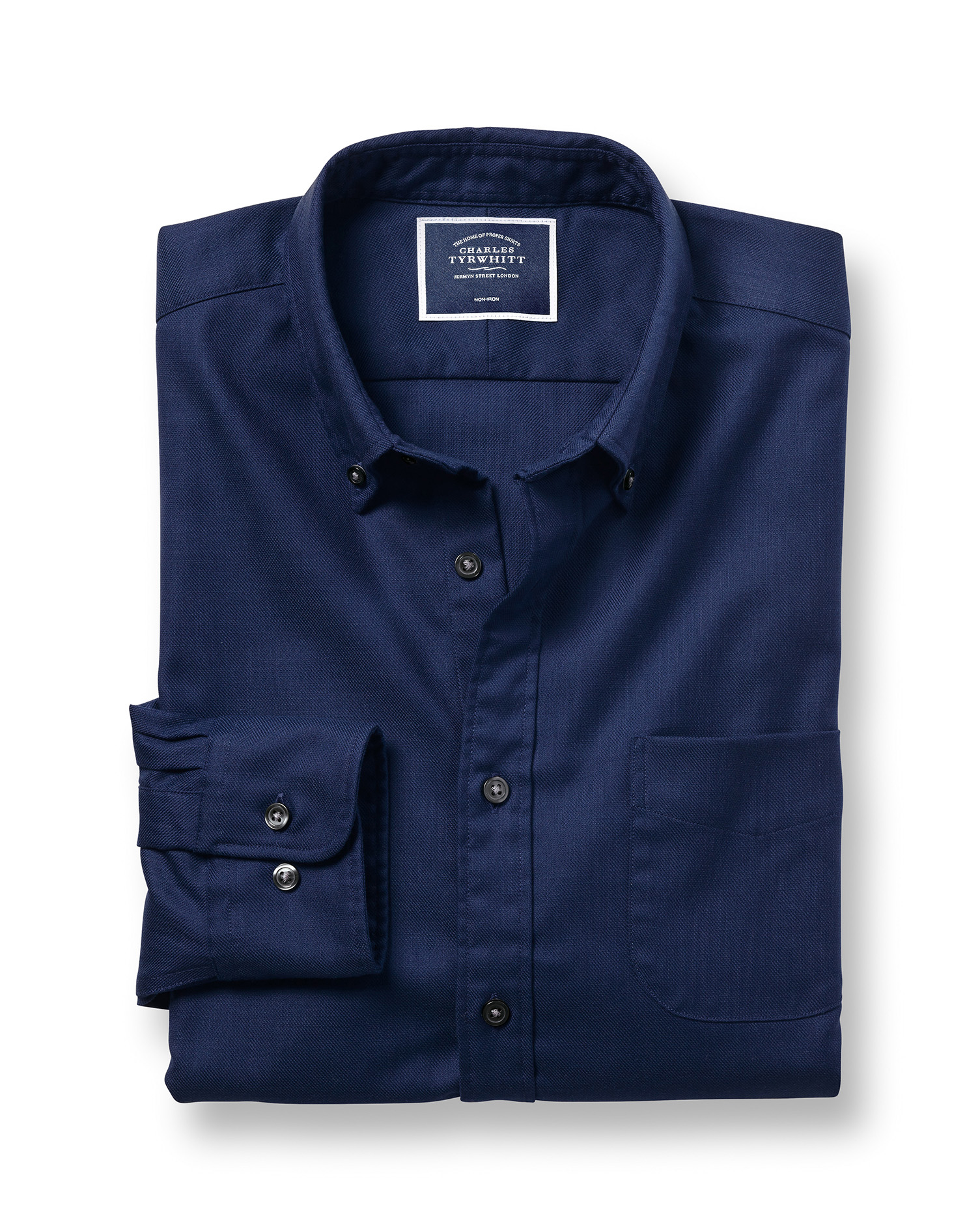 Cotton Extra Slim Fit Soft Washed Non-Iron Twill Dark Blue Shirt
