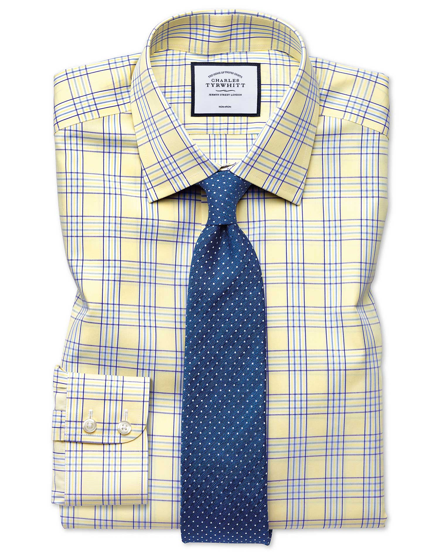 Slim Fit Non-Iron Prince Of Wales Yellow Cotton Formal Shirt Single Cuff Size 17/37 by Charles Tyrwh