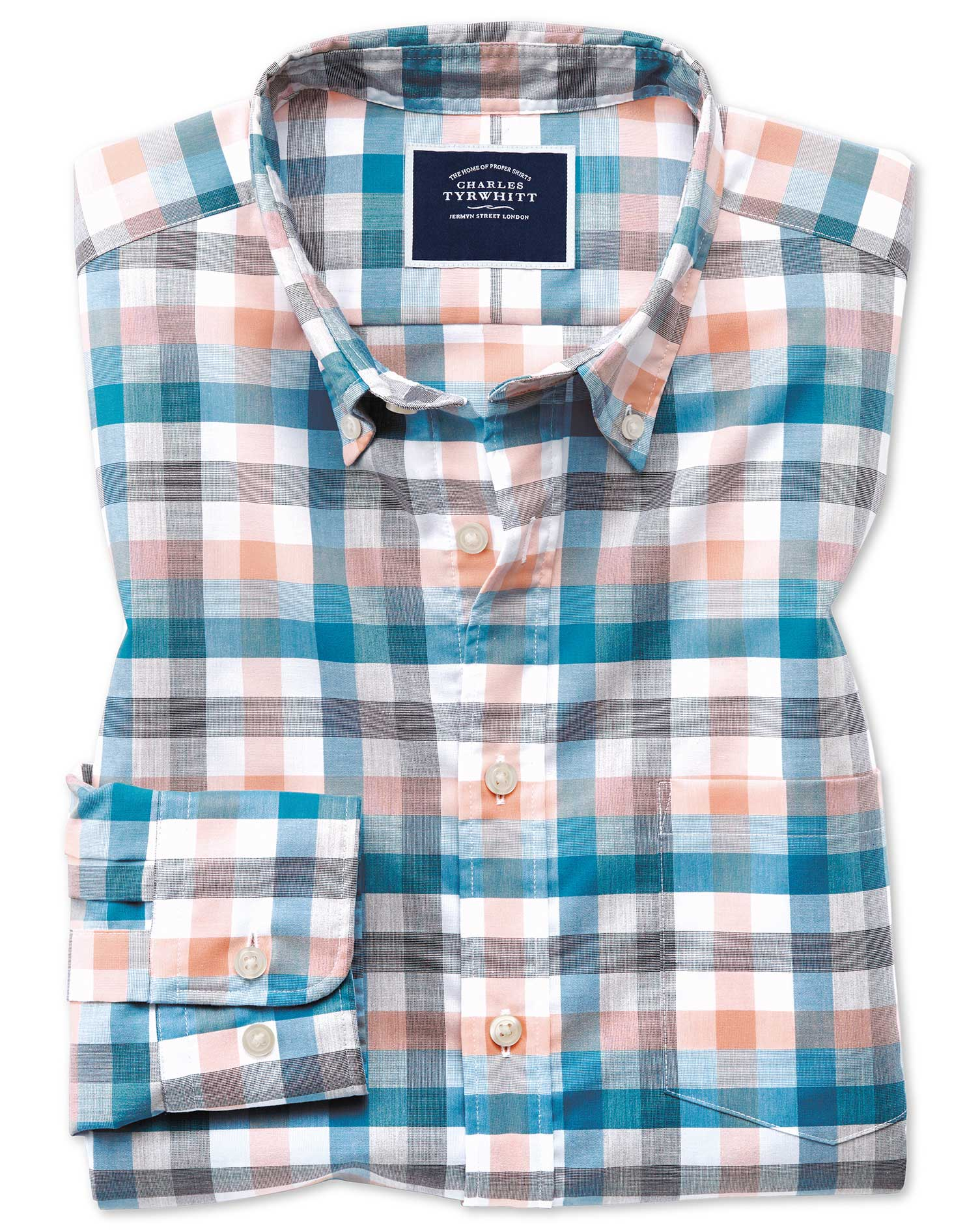Classic Fit Coral Multi Check Soft Washed Non-Iron Tyrwhitt Cool Cotton Shirt Single Cuff Size XL by