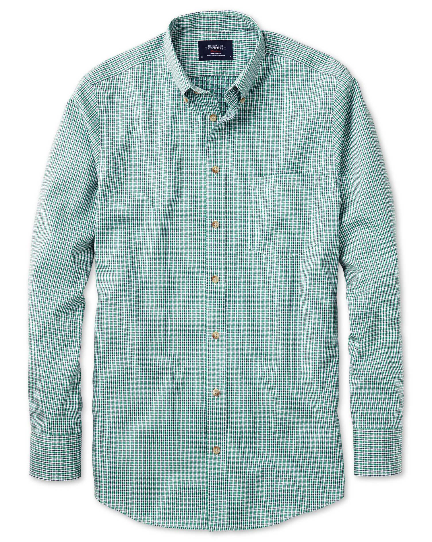 Classic Fit Non-Iron Poplin Green and Navy Check Cotton Shirt Single Cuff Size Large by Charles Tyrw