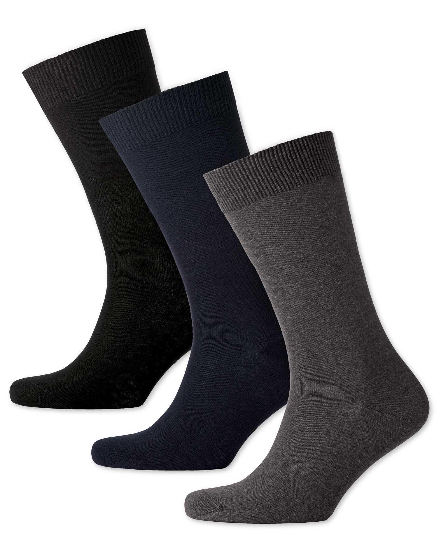 Multi Cotton Rich 3 Pack Socks Size Medium by Charles Tyrwhitt