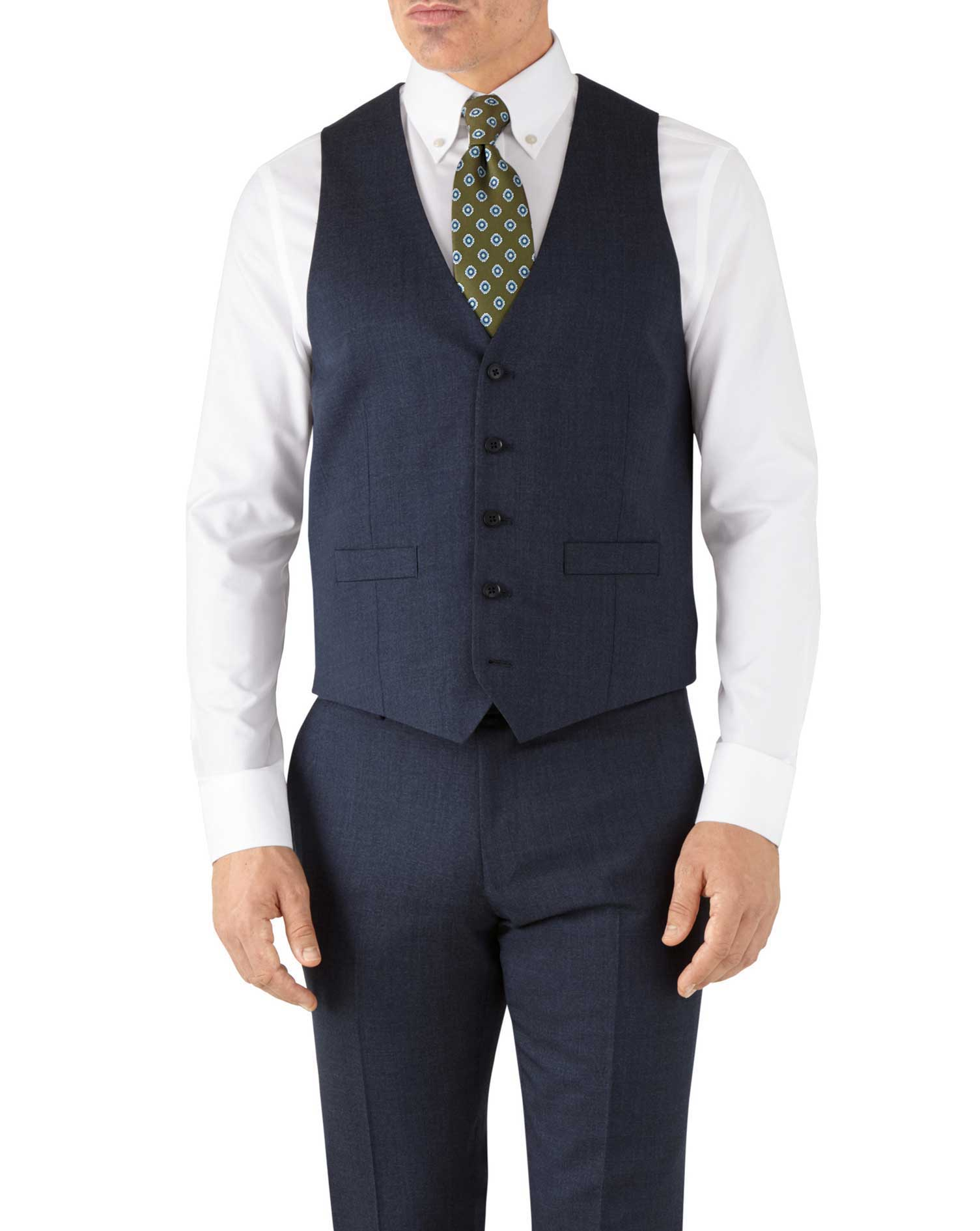 Airforce Blue Adjustable Fit Hairline Business Suit Wool Waistcoat Size w44 by Charles Tyrwhitt