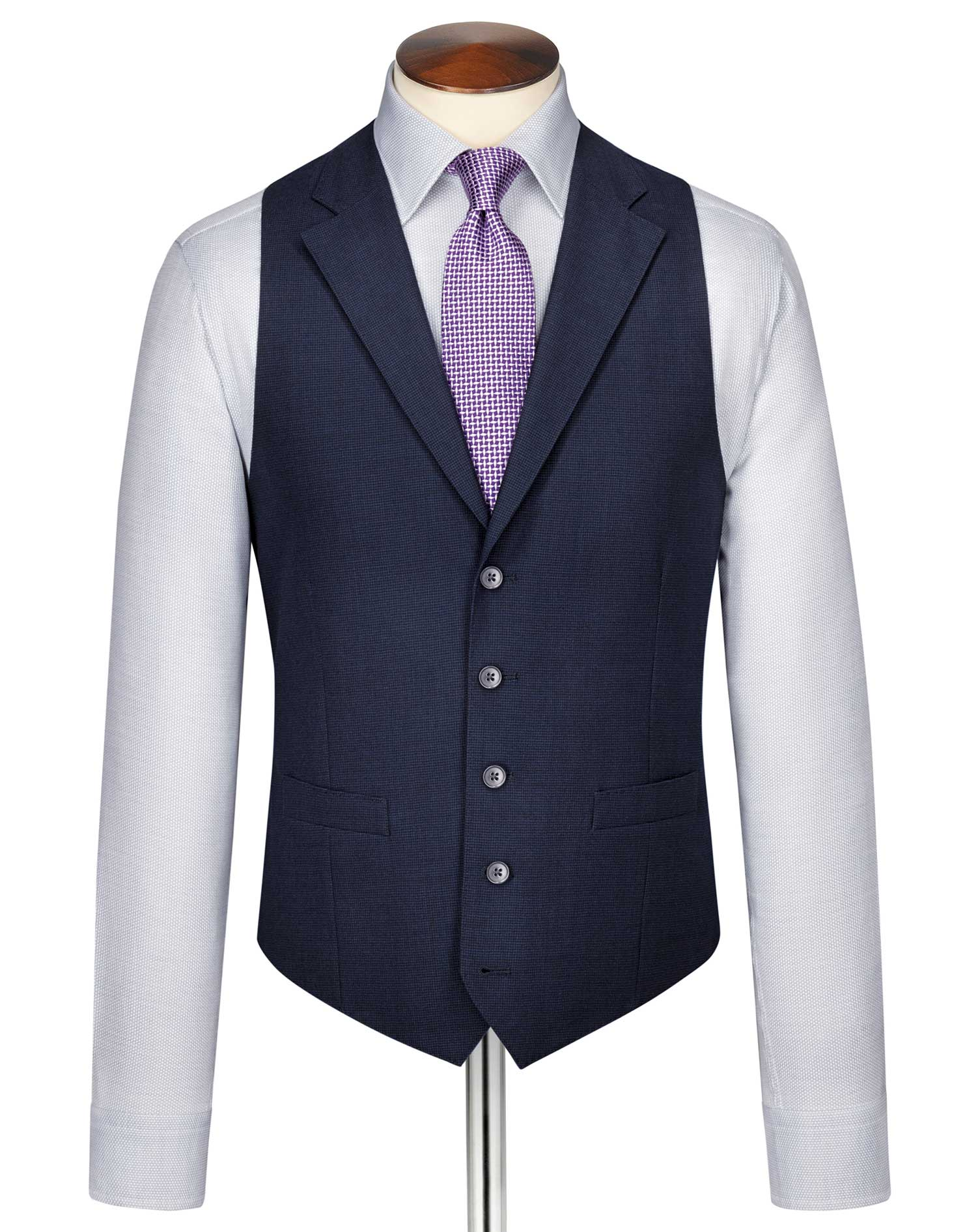 Indigo Blue Puppytooth Panama Business Suit Wool Waistcoat Size w44 by Charles Tyrwhitt