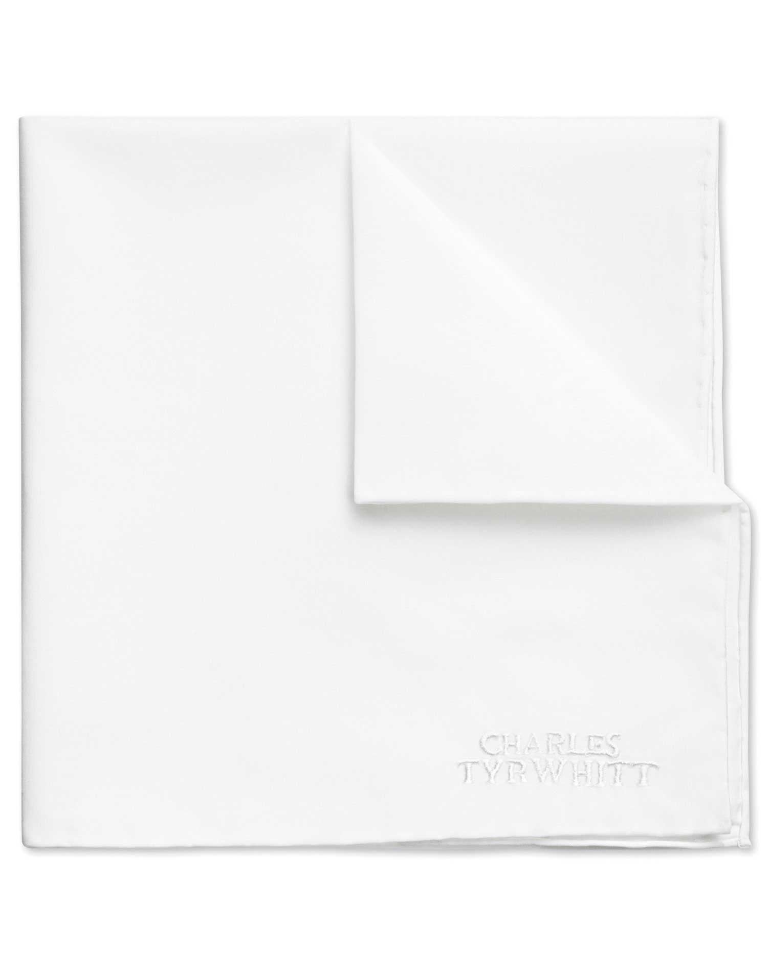 white classic plain cotton pocket square by charles tyrwhitt