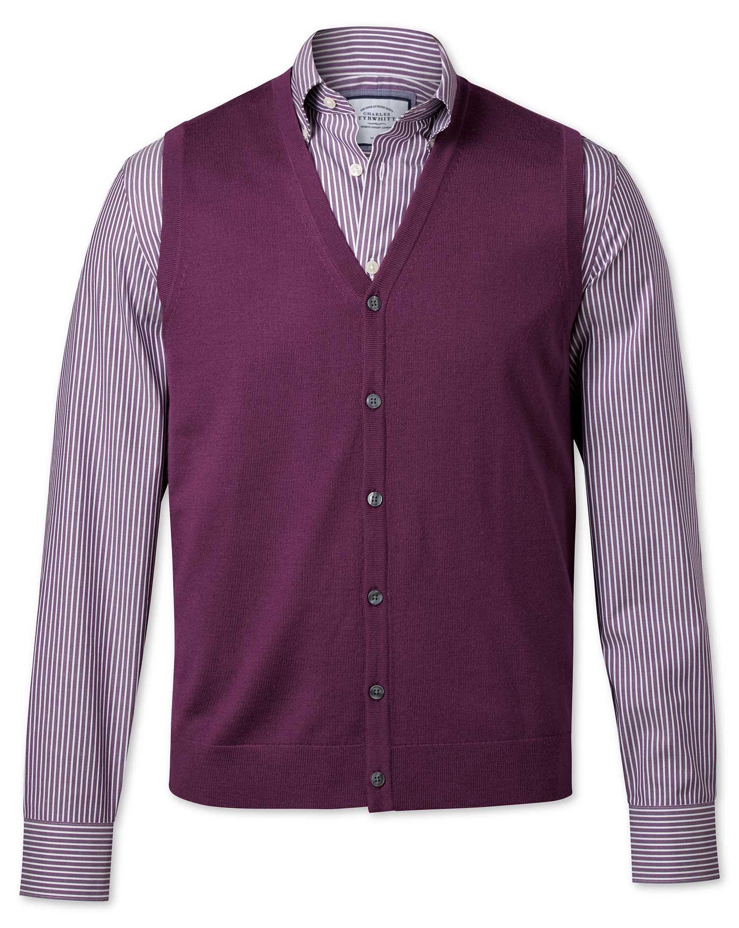 Dark Purple Merino Wool Waistcoat Size XXL by Charles Tyrwhitt