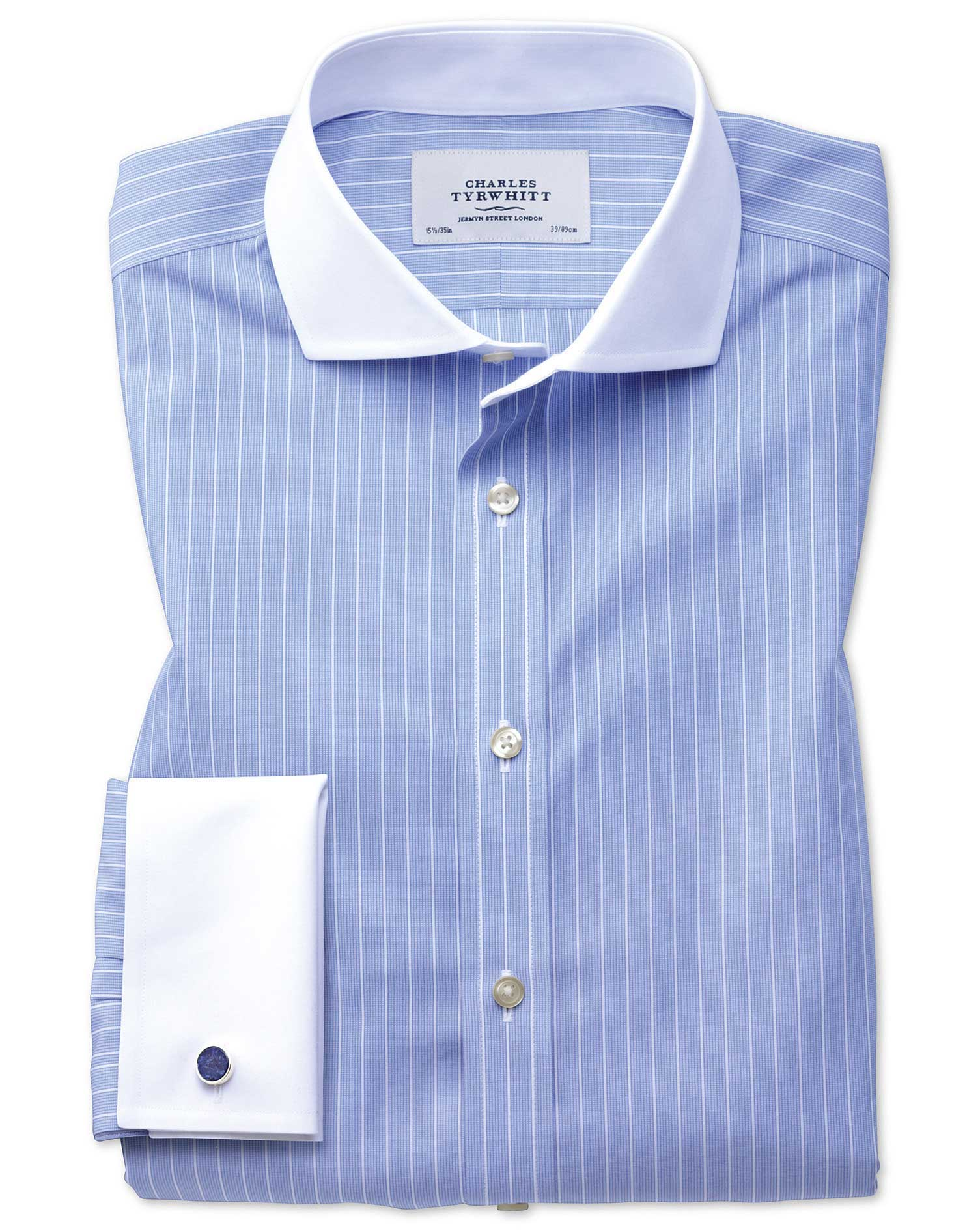 Extra Slim Fit Cutaway Non-Iron Winchester Blue and White Cotton Formal Shirt Single Cuff Size 16/34