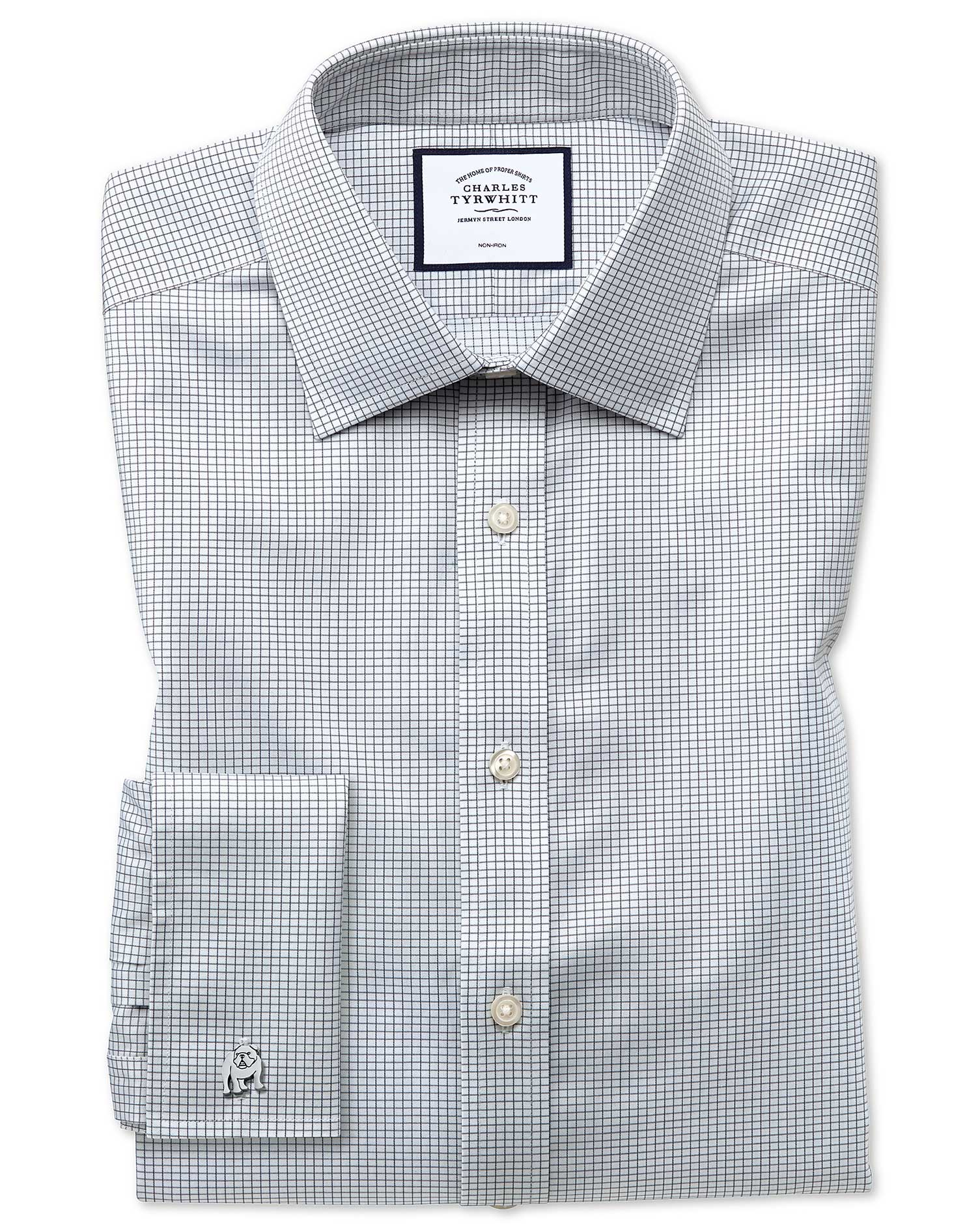 Extra Slim Fit Non-Iron Twill Mini Grid Check Grey Cotton Formal Shirt Double Cuff Size 15/33 by Cha