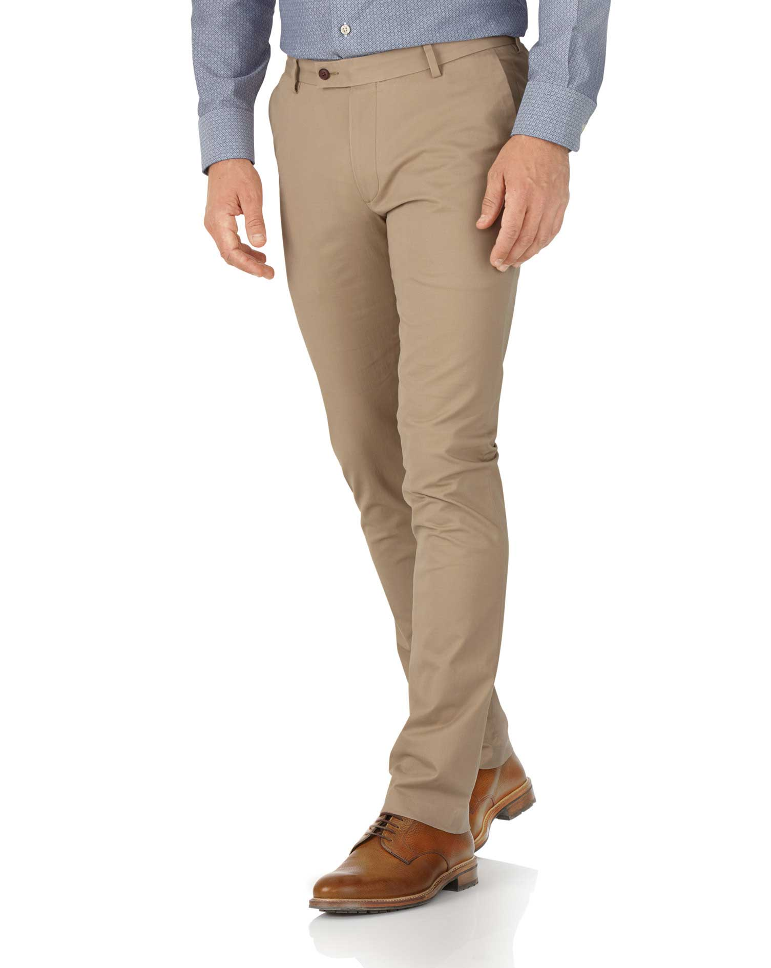 Tan Extra Slim Fit Stretch Cotton Chino Trousers Size W32 L32 by Charles Tyrwhitt