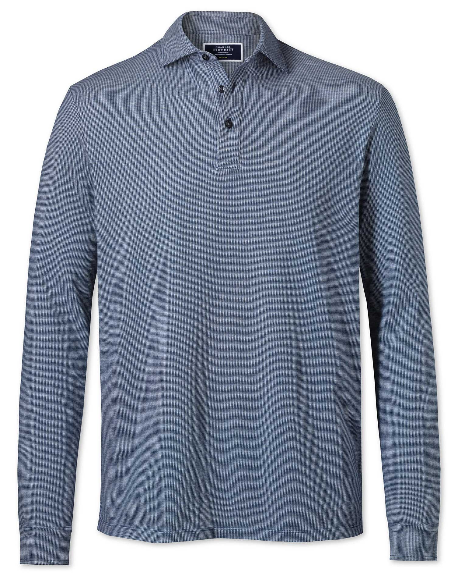 Blue and White Long Sleeve Textured Cotton Polo Size XS by Charles Tyrwhitt