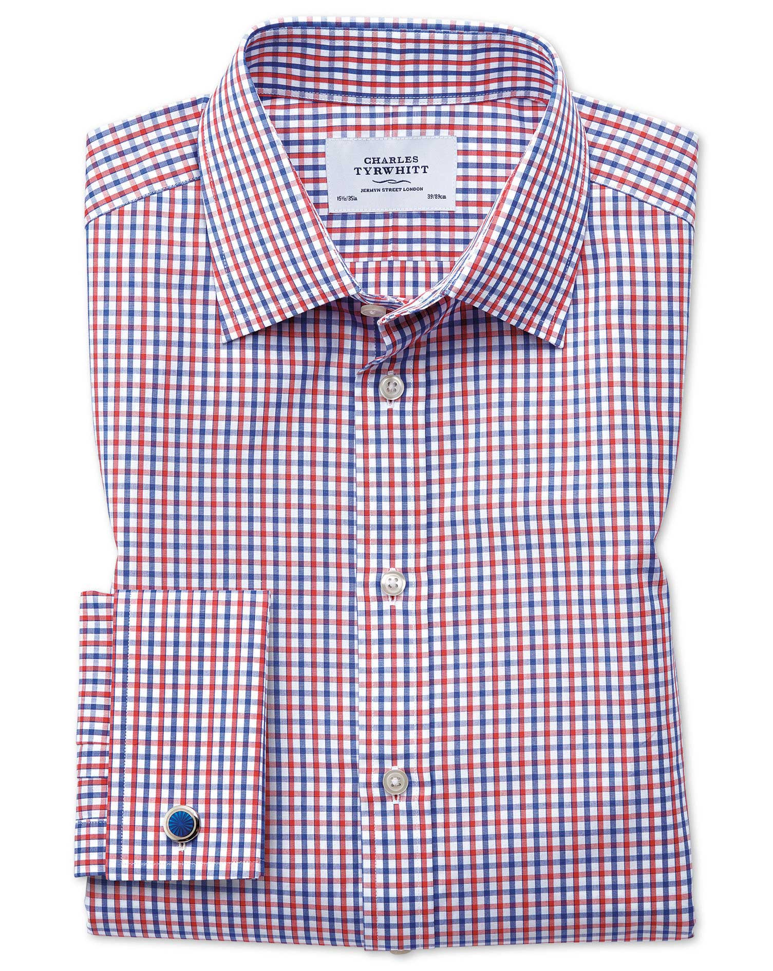 Slim Fit Two Colour Check Red and Blue Cotton Formal Shirt Single Cuff Size 16.5/34 by Charles Tyrwh