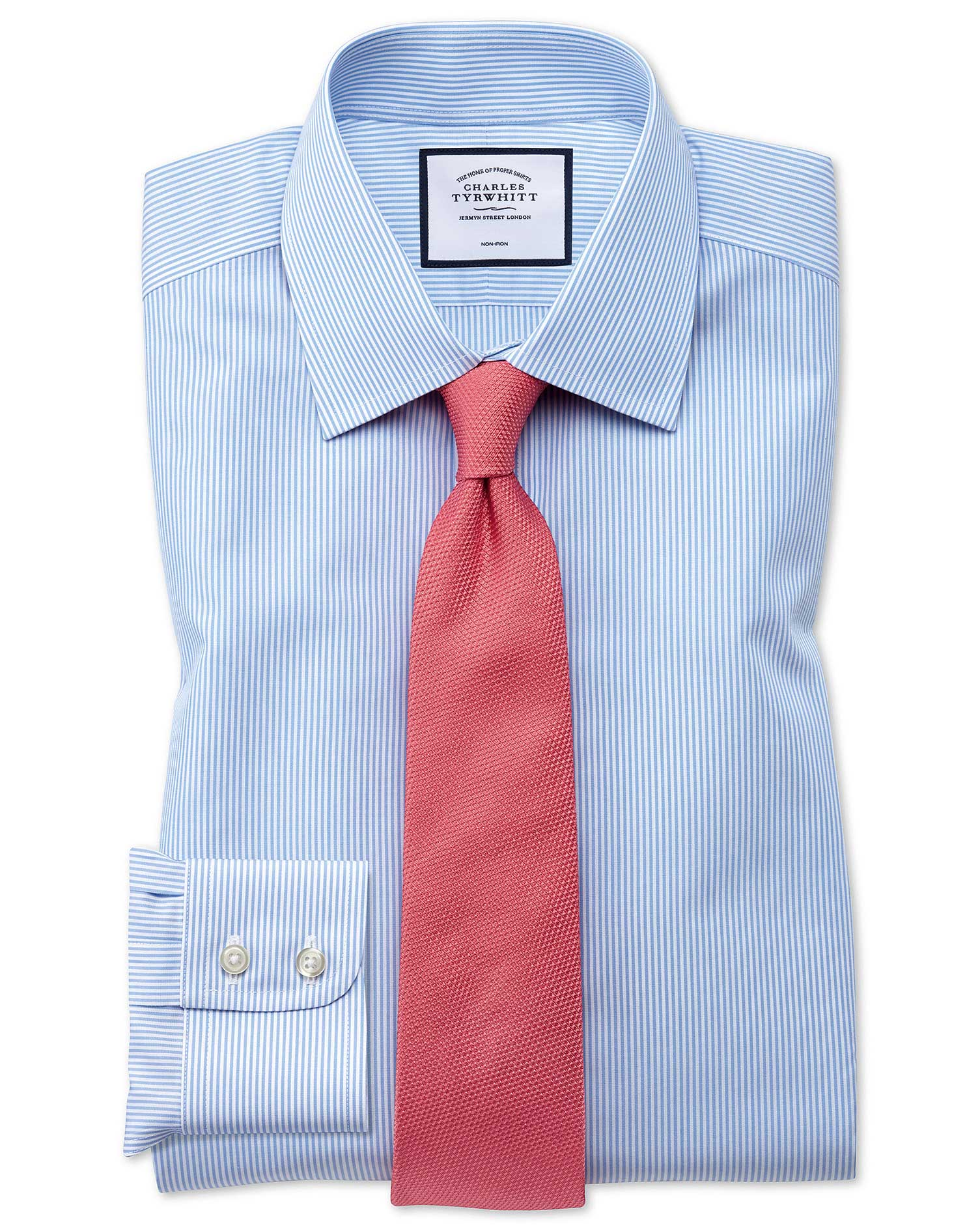 Extra slim fit non iron bengal stripe sky blue shirt for Slim fit non iron shirts