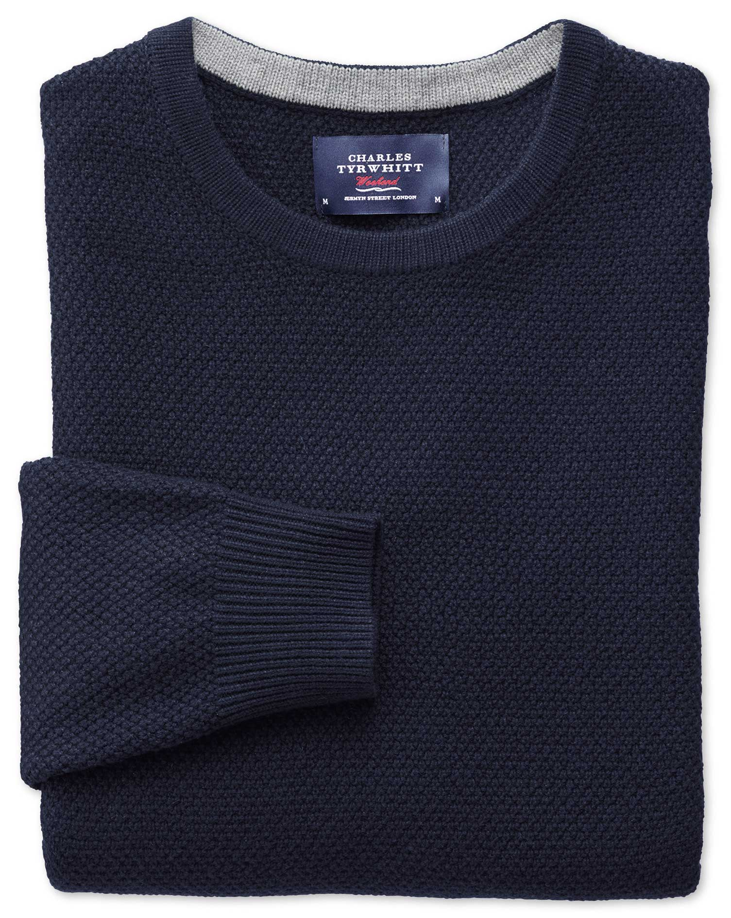 Navy Merino Cotton Crew Neck Wool Jumper Size XL by Charles Tyrwhitt