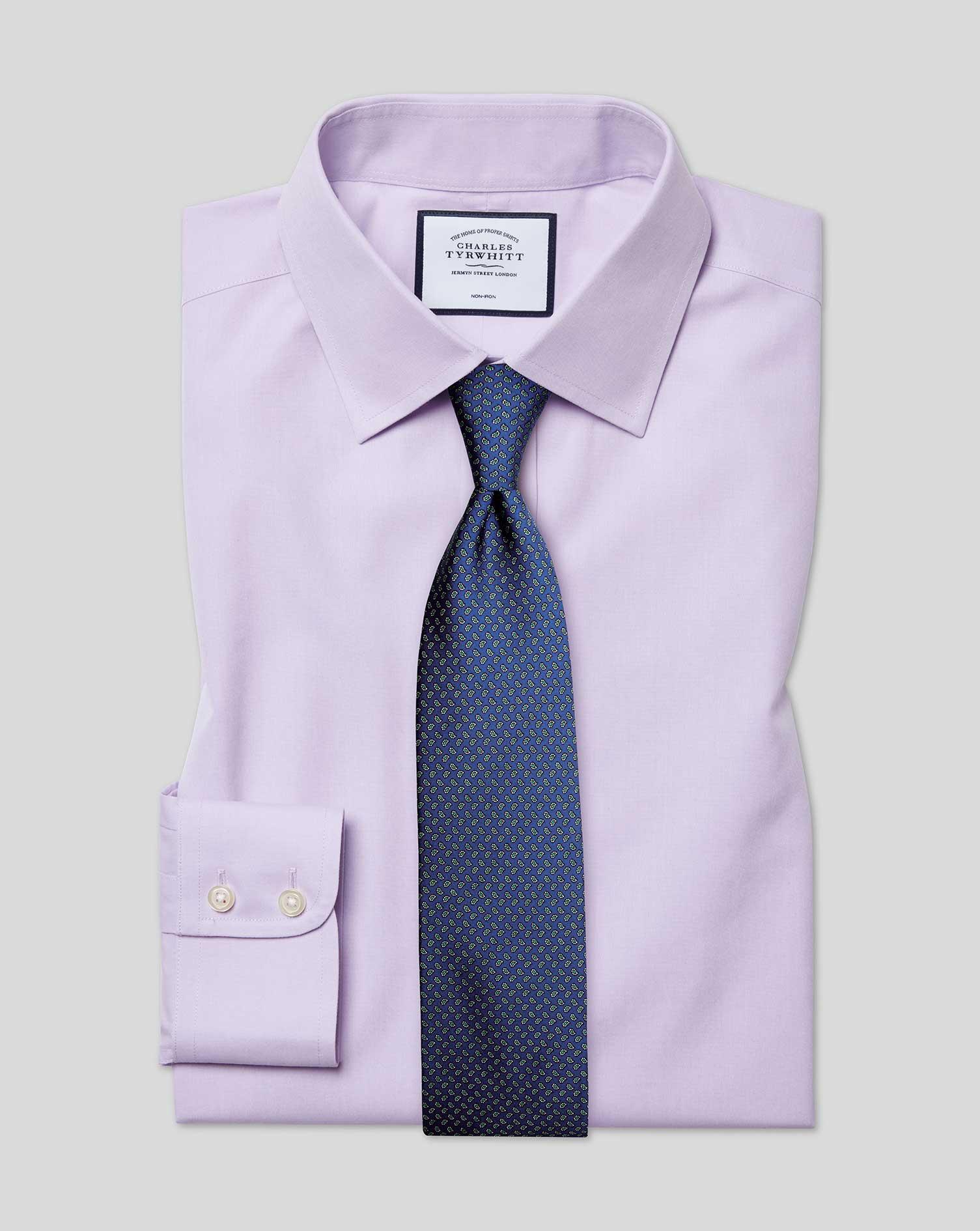 Cotton Classic Fit Non-Iron Poplin Lilac Shirt