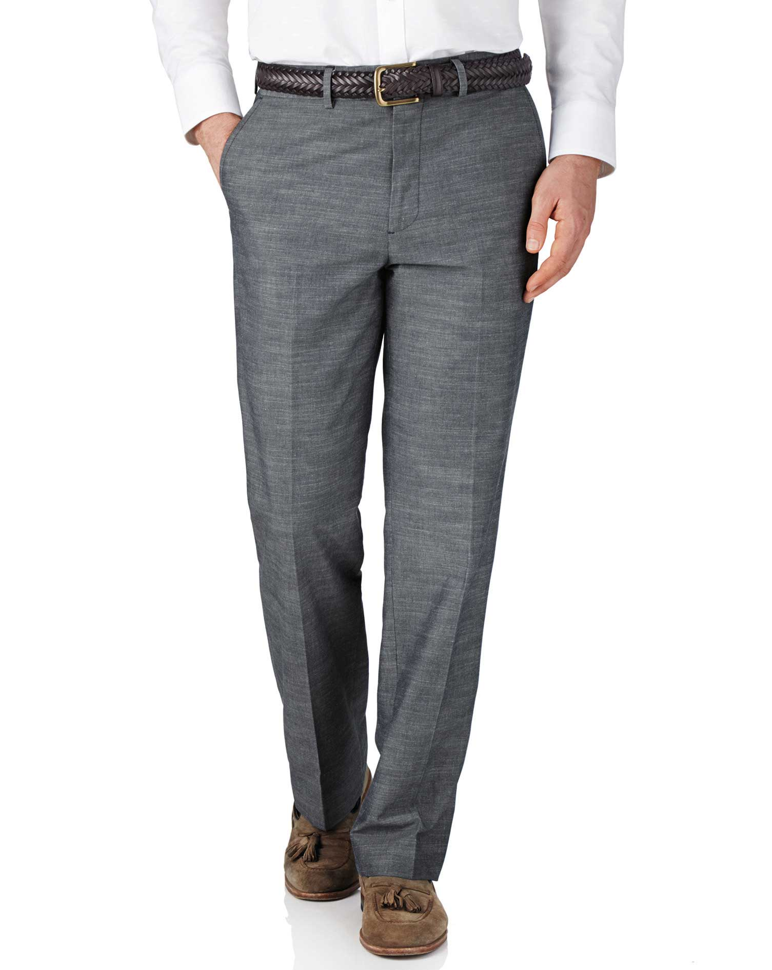 Blue Chambray Classic Fit Trousers Size W32 L30 by Charles Tyrwhitt