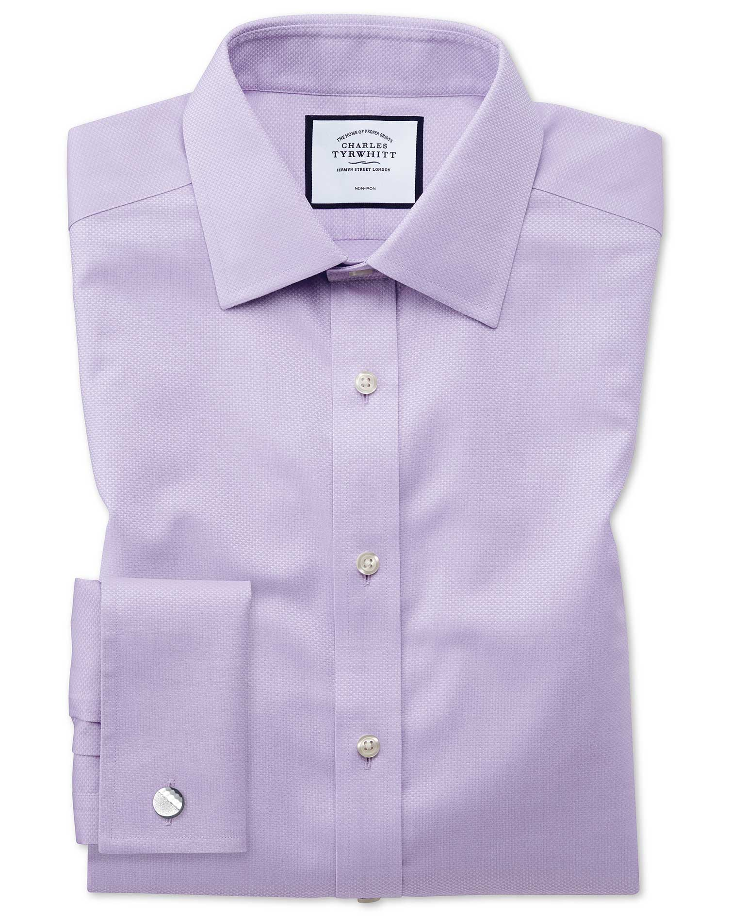 Classic Fit Non-Iron Lilac Triangle Weave Cotton Formal Shirt Single Cuff Size 17/37 by Charles Tyrw