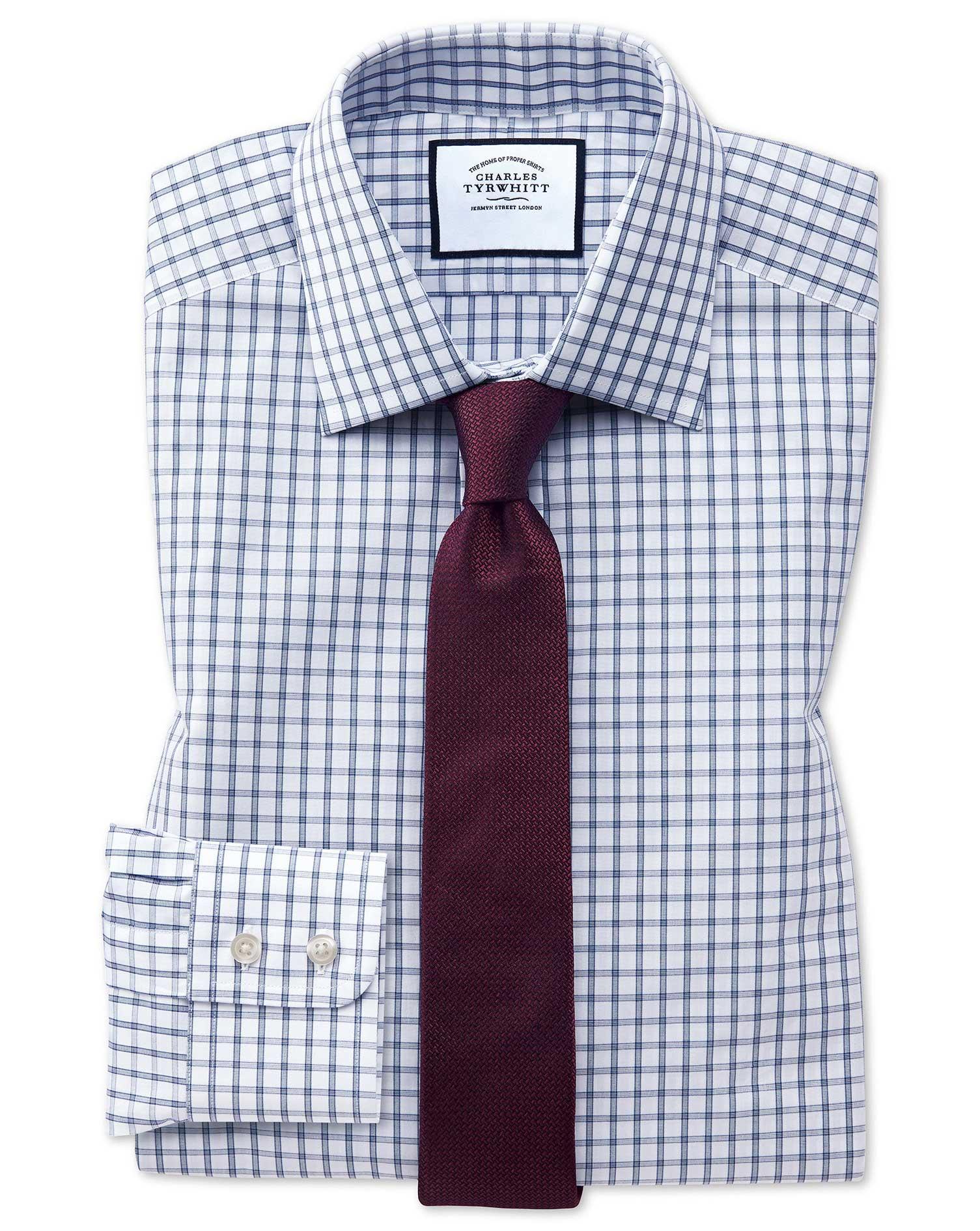 Extra Slim Fit Blue Windowpane Check Cotton Formal Shirt Single Cuff Size 16/36 by Charles Tyrwhitt