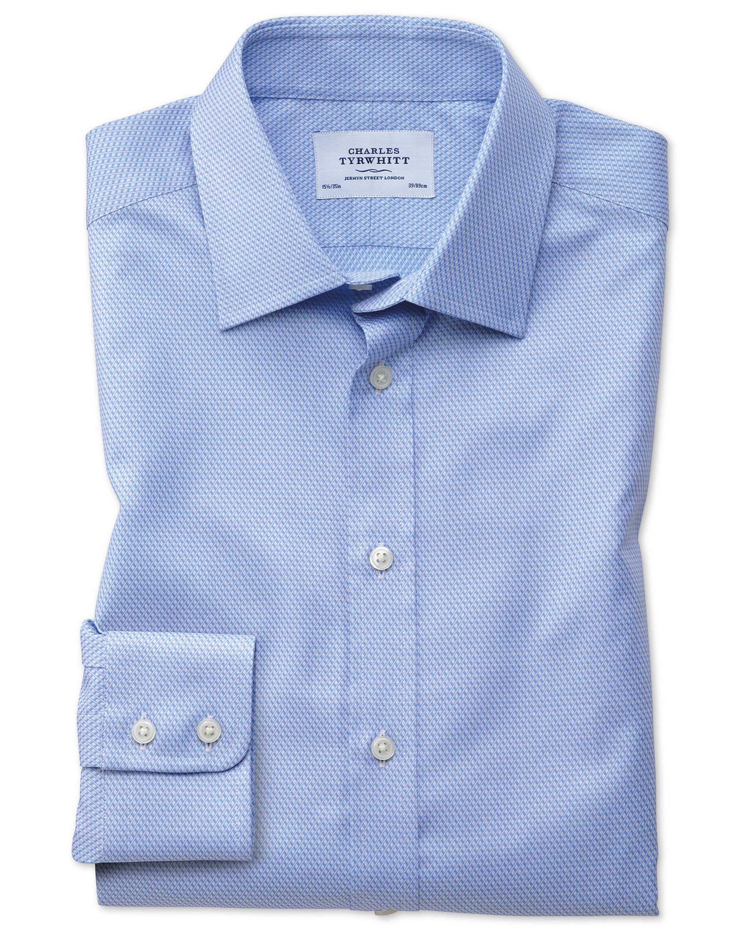 Classic Fit Egyptian Cotton Diamond Pattern Sky Blue Formal Shirt Single Cuff Size 16/35 by Charles