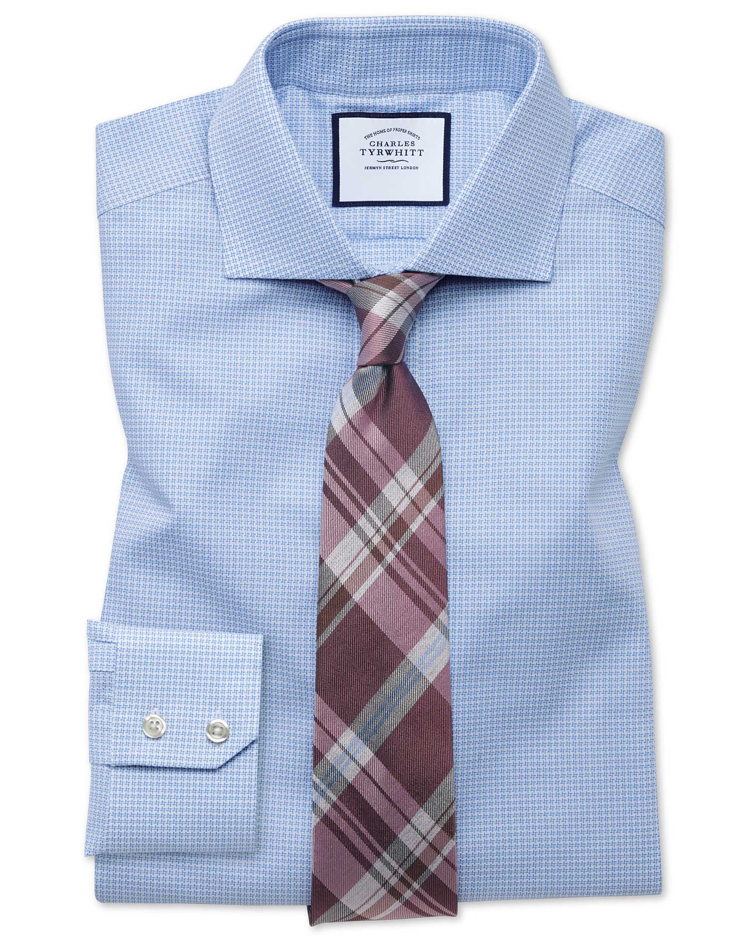 Slim Fit Cutaway Textured Puppytooth Sky Blue Cotton Formal Shirt Single Cuff Size 17/34 by Charles