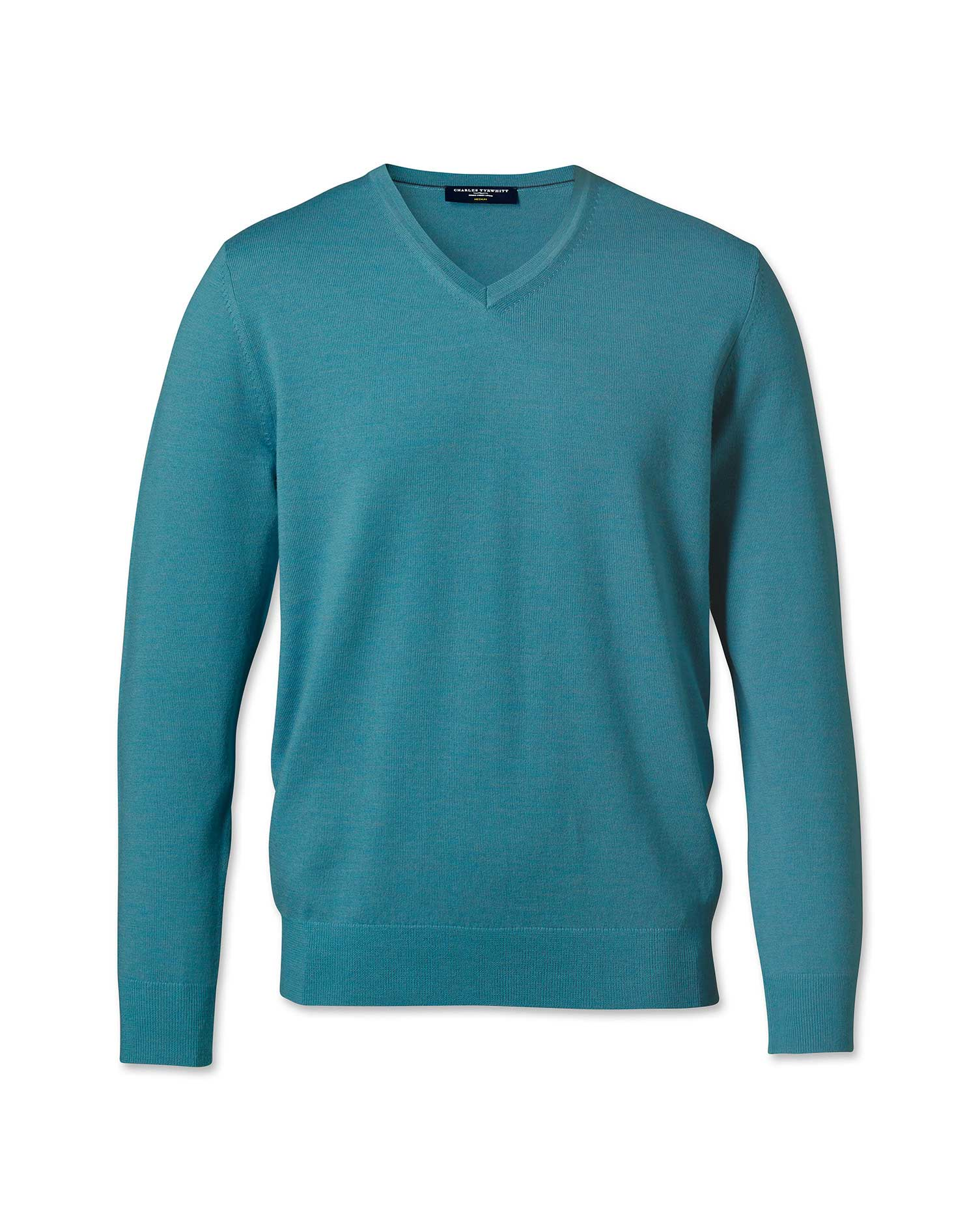 Teal Merino Wool V-Neck Jumper Size XL by Charles Tyrwhitt