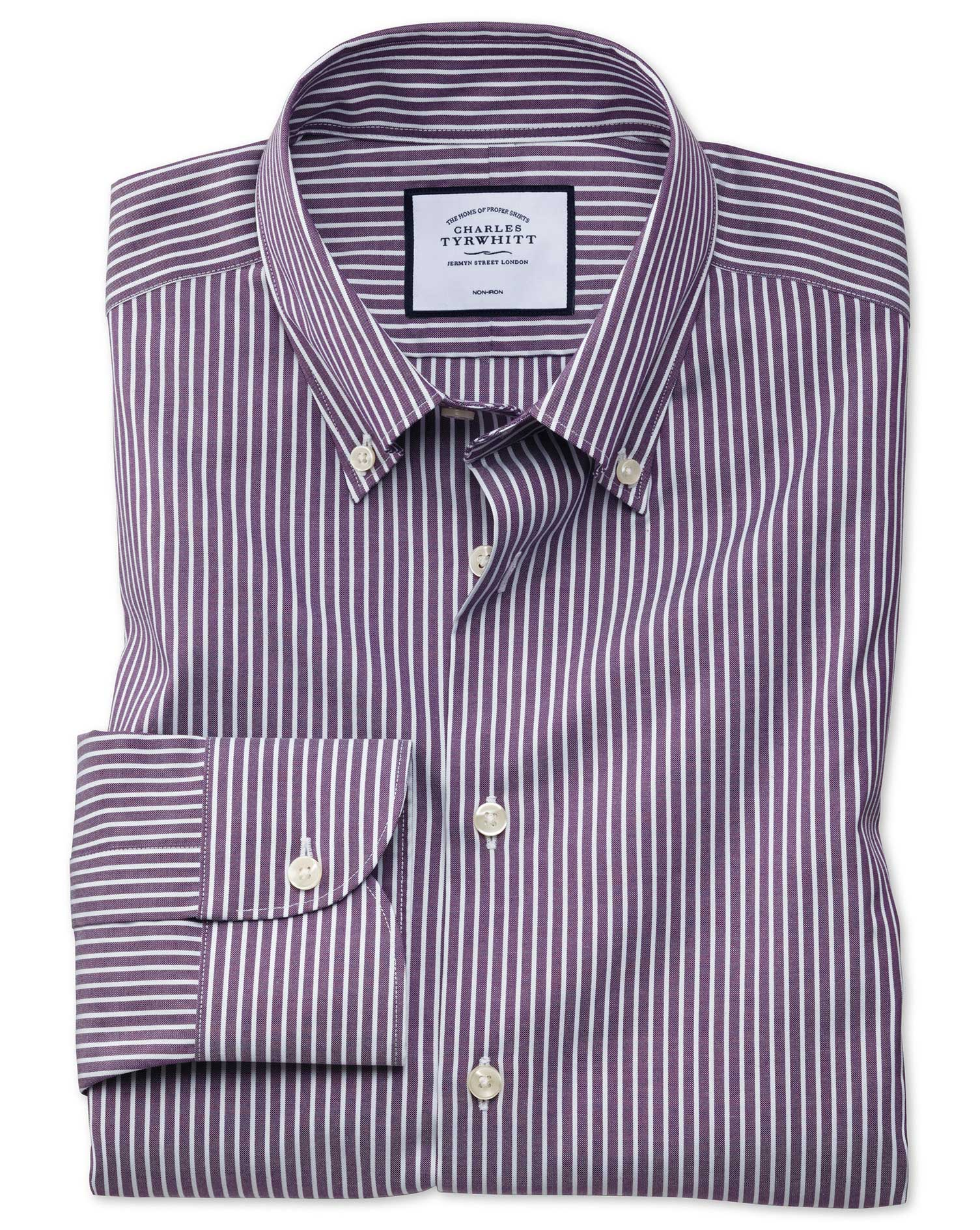 Slim Fit Business Casual Non-Iron Button-Down Purple and White Stripe Cotton Formal Shirt Single Cuf