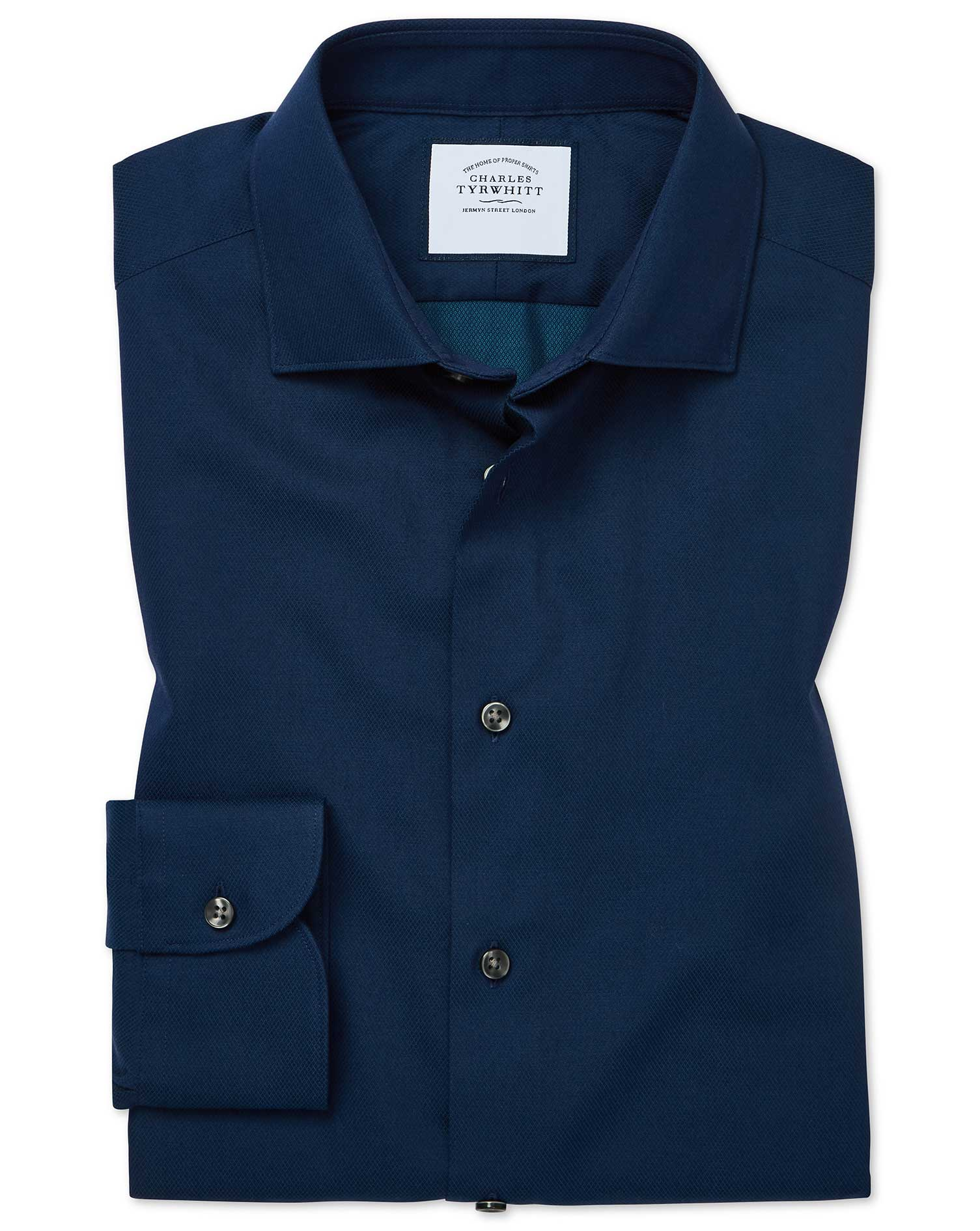 Cotton Classic Fit Micro Diamond Blue Shirt