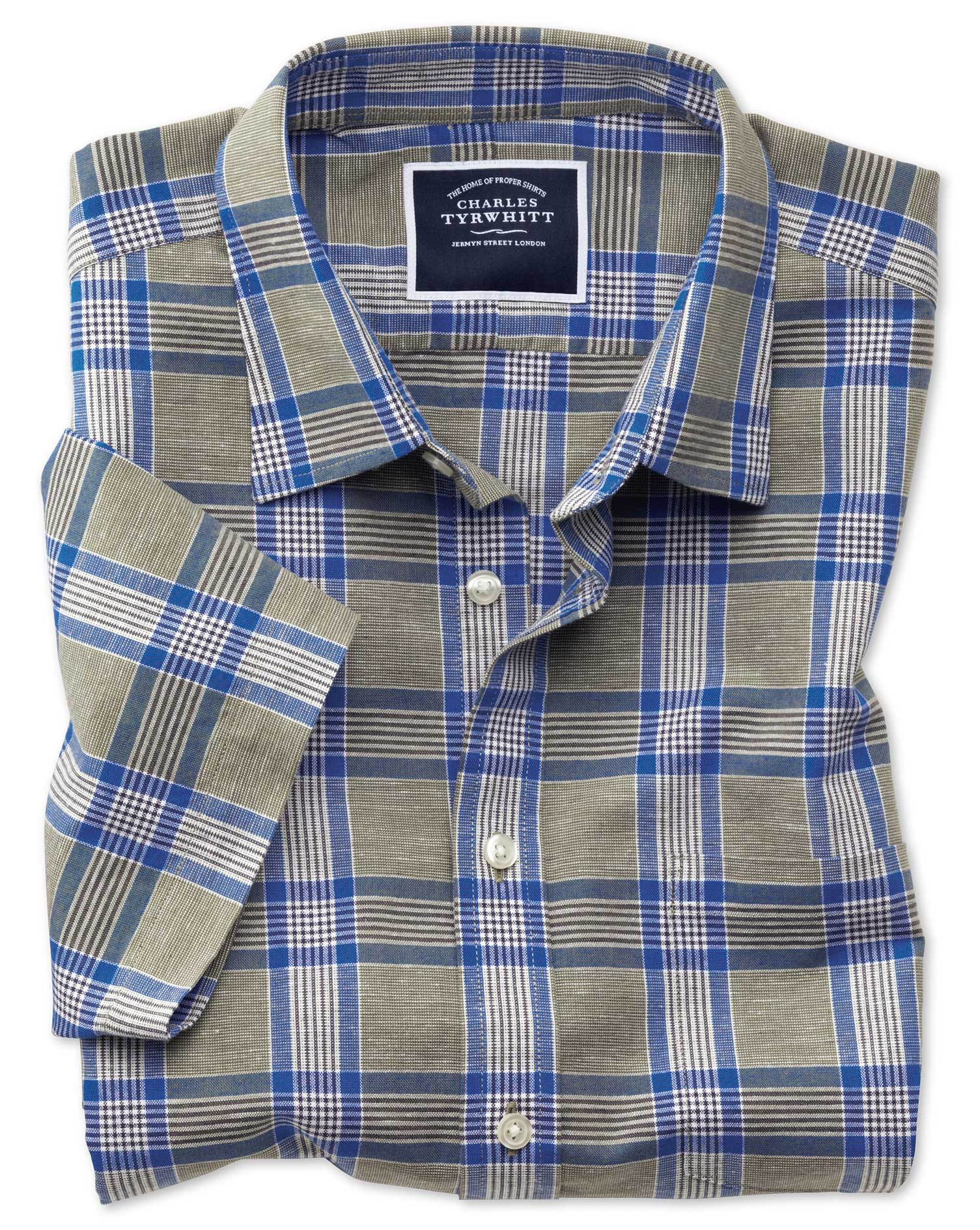 Slim Fit Cotton Linen Short Sleeve Khaki Check Shirt Single Cuff Size Large by Charles Tyrwhitt