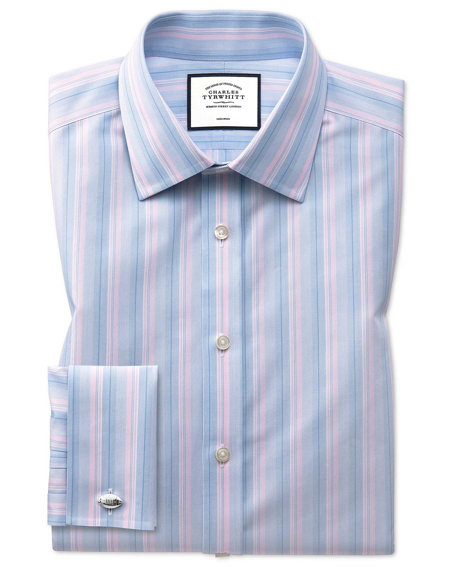 Classic Fit Non-Iron Pink and Blue Multi Stripe Cotton Formal Shirt Single Cuff Size 18/36 by Charle