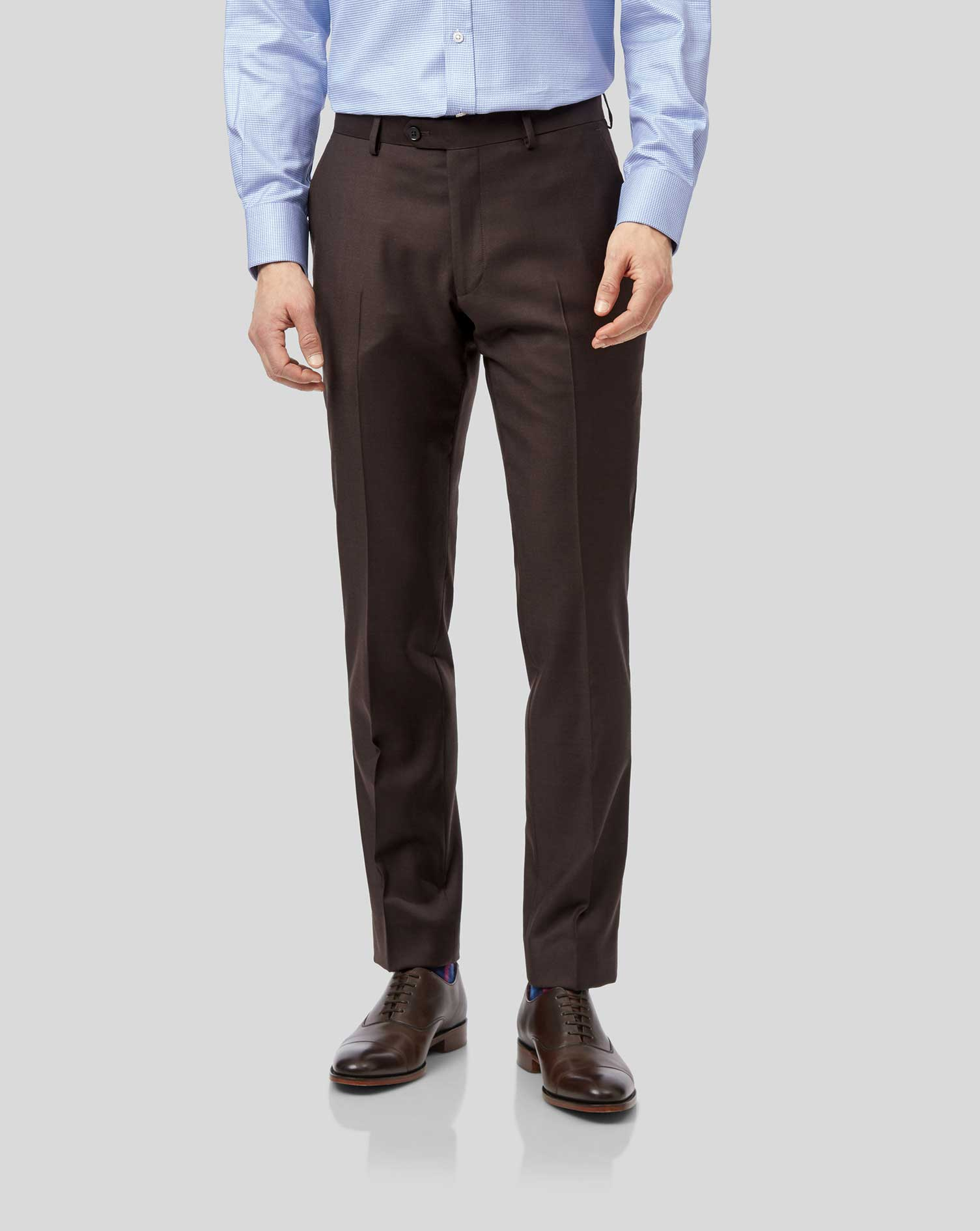Wool Brown Slim Fit Twill Business Suit Trousers