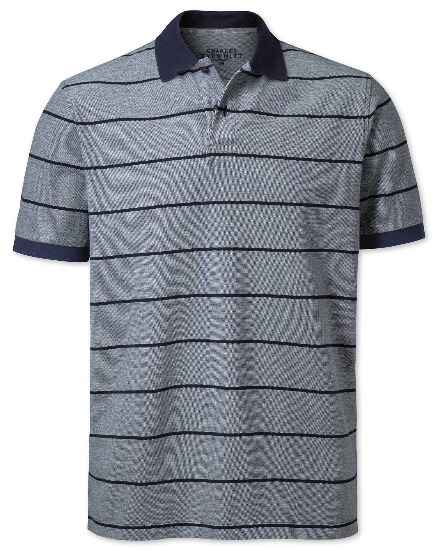 Navy Stripe Oxford Pique Cotton Polo Size Medium by Charles Tyrwhitt