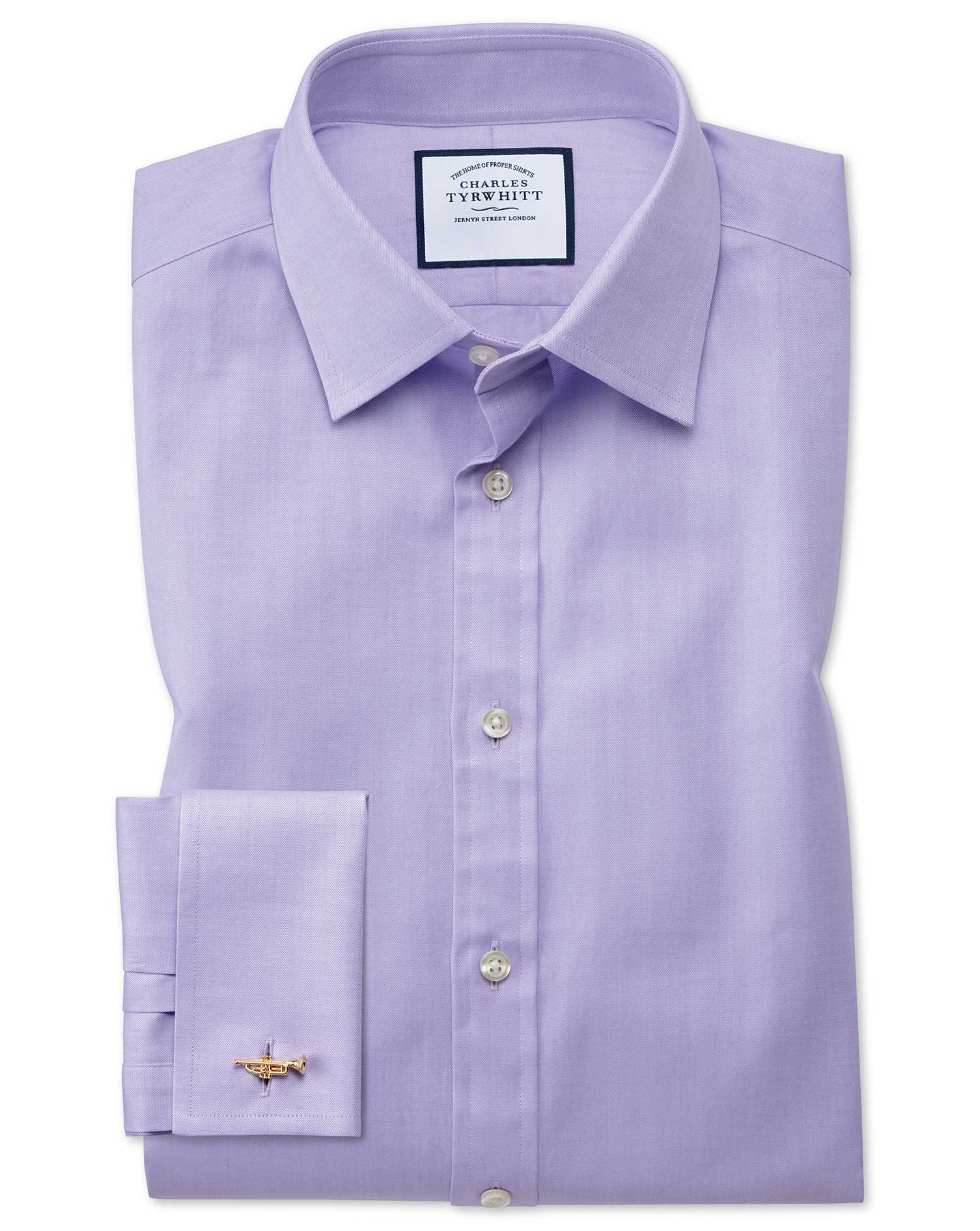 Slim Fit Fine Herringbone Lilac Cotton Formal Shirt Double Cuff Size 17/35 by Charles Tyrwhitt