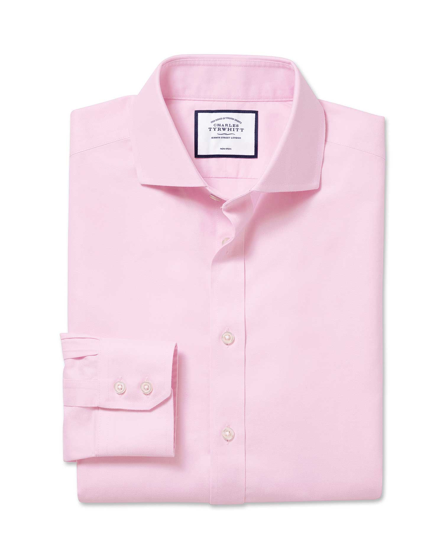 Super Slim Fit Cutaway Non-Iron Twill Pink Cotton Formal Shirt Double Cuff Size 17/35 by Charles Tyr
