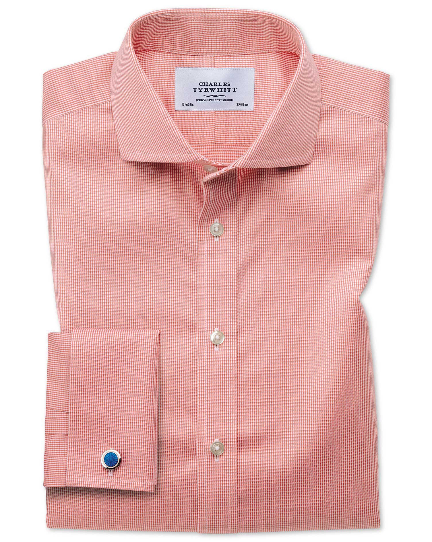 Extra Slim Fit Cutaway Non-Iron Puppytooth Coral Cotton Formal Shirt Single Cuff Size 15.5/35 by Cha