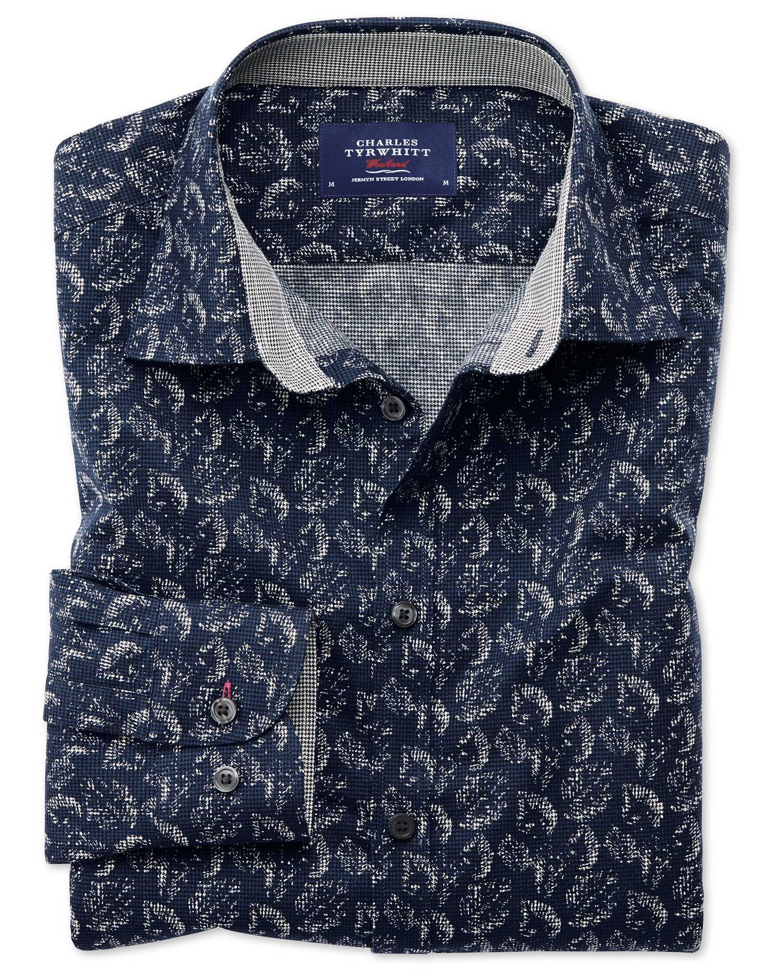 Classic Fit Dark Blue Leaf Print Cotton Shirt Single Cuff Size Medium by Charles Tyrwhitt