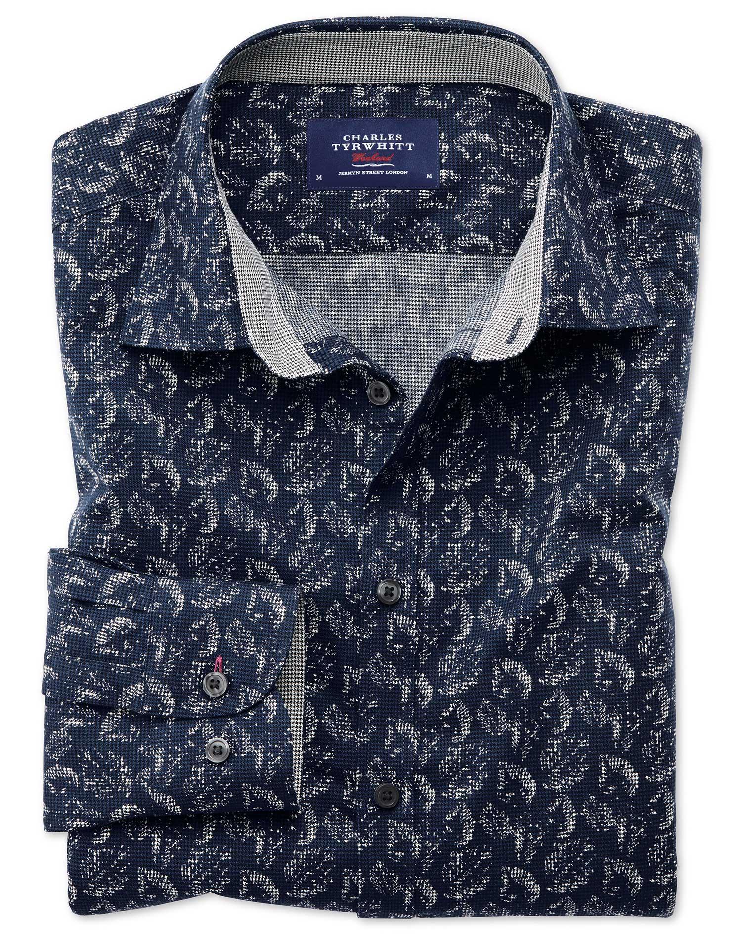 Extra Slim Fit Dark Blue Leaf Print Cotton Shirt Single Cuff Size XXL by Charles Tyrwhitt