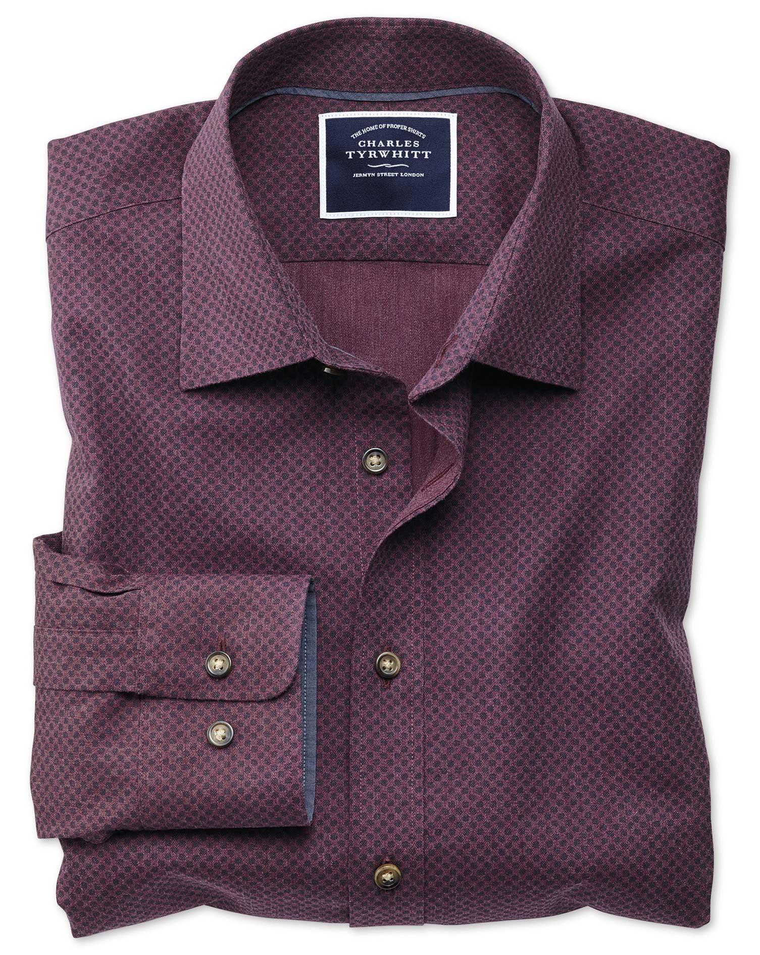 Slim Fit Burgundy Spot Print Cotton Shirt Single Cuff Size Large by Charles Tyrwhitt