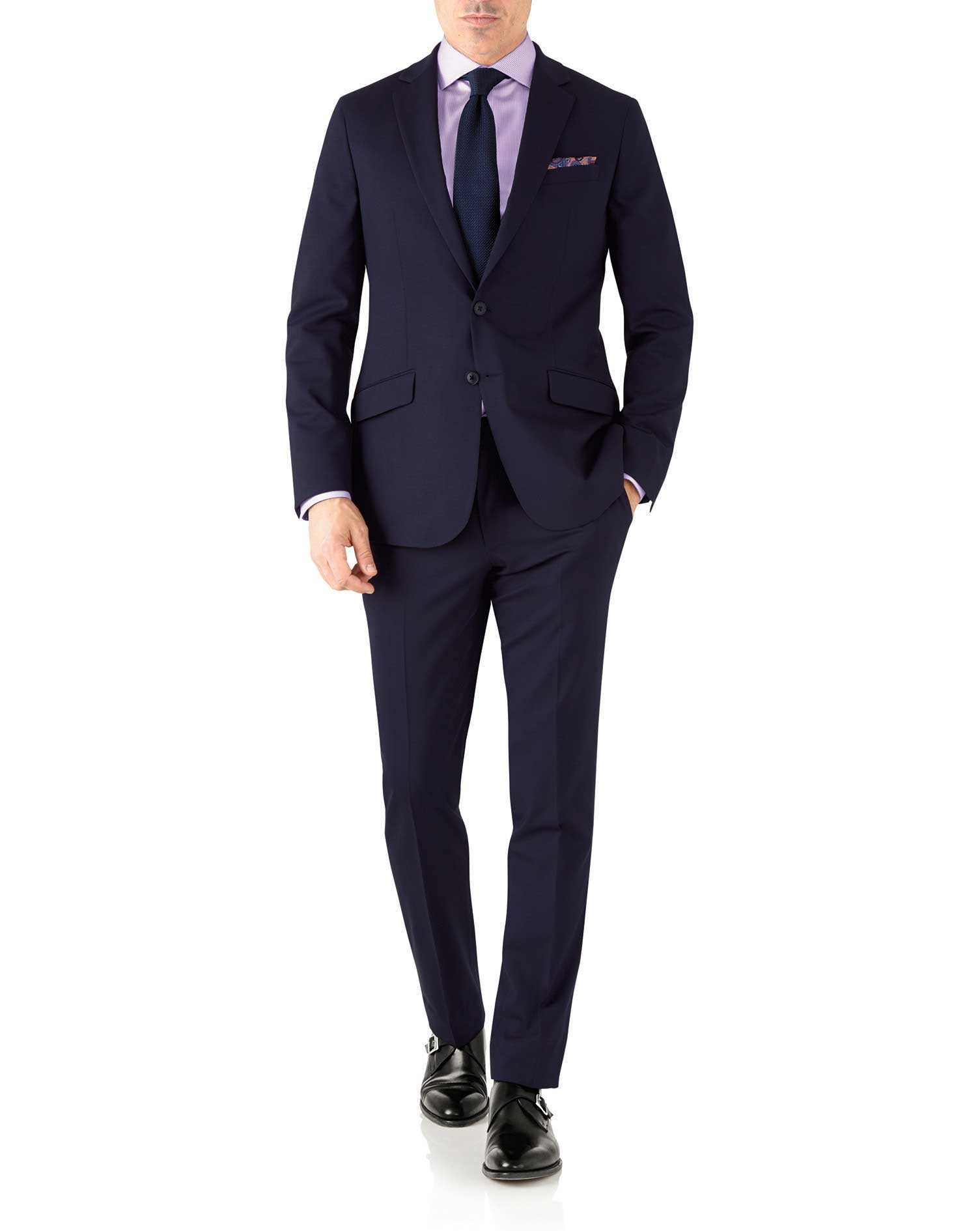 Navy slim fit performance suit jacket