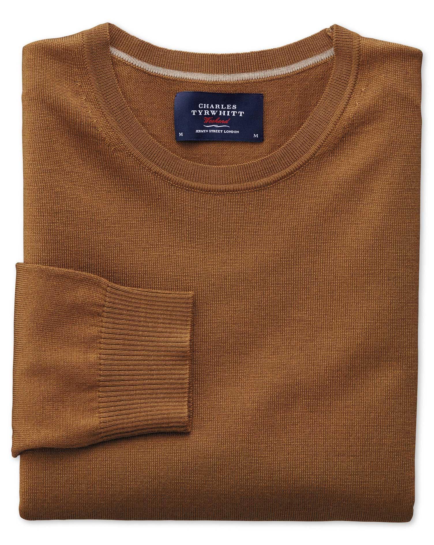 Tan Merino Wool Crew Neck Jumper Size Large by Charles Tyrwhitt