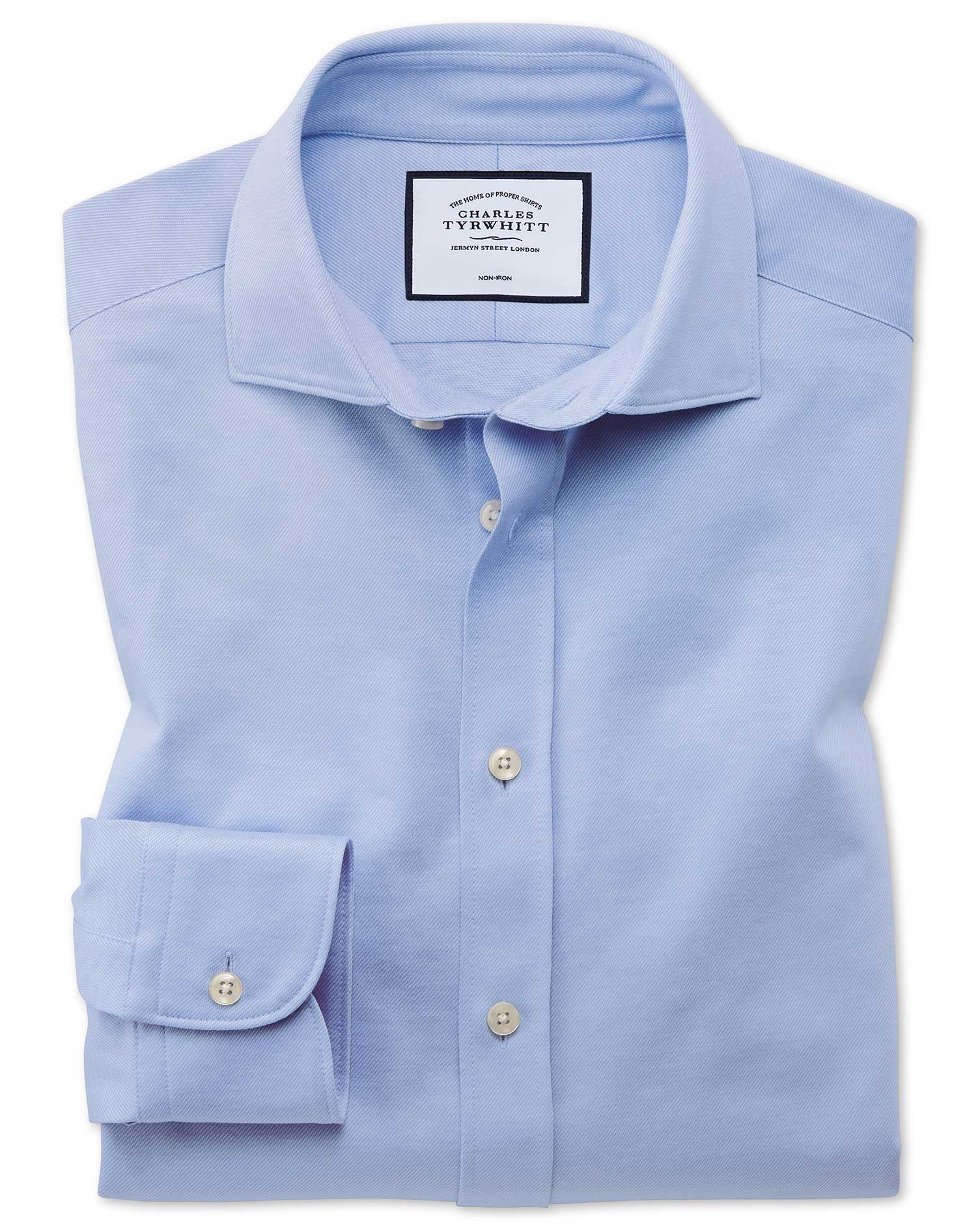 Slim Fit Business Casual Travel Blue Cotton Formal Shirt Single Cuff Size 16.5/35 by Charles Tyrwhit