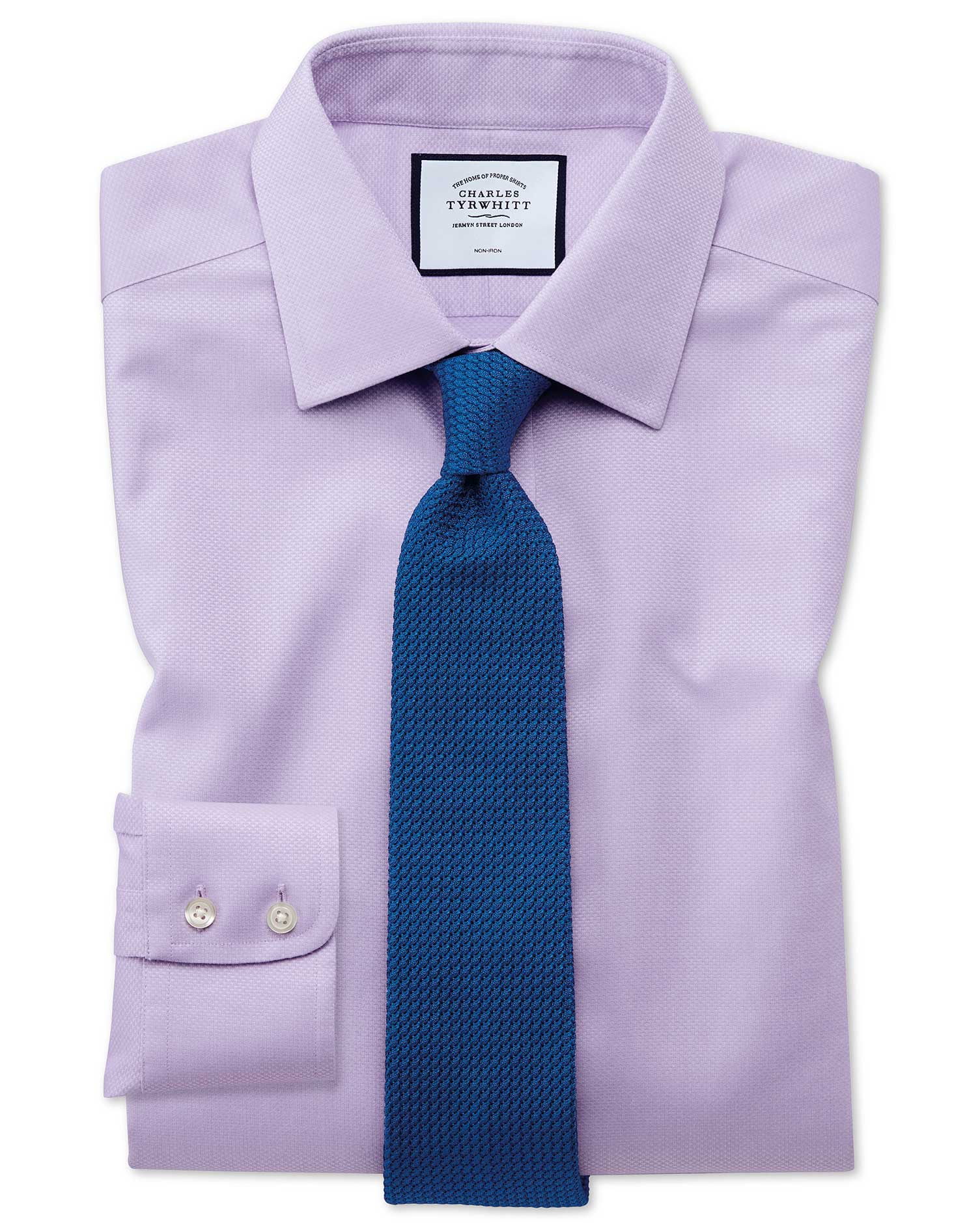 Classic Fit Non-Iron Lilac Triangle Weave Cotton Formal Shirt Double Cuff Size 17/34 by Charles Tyrw