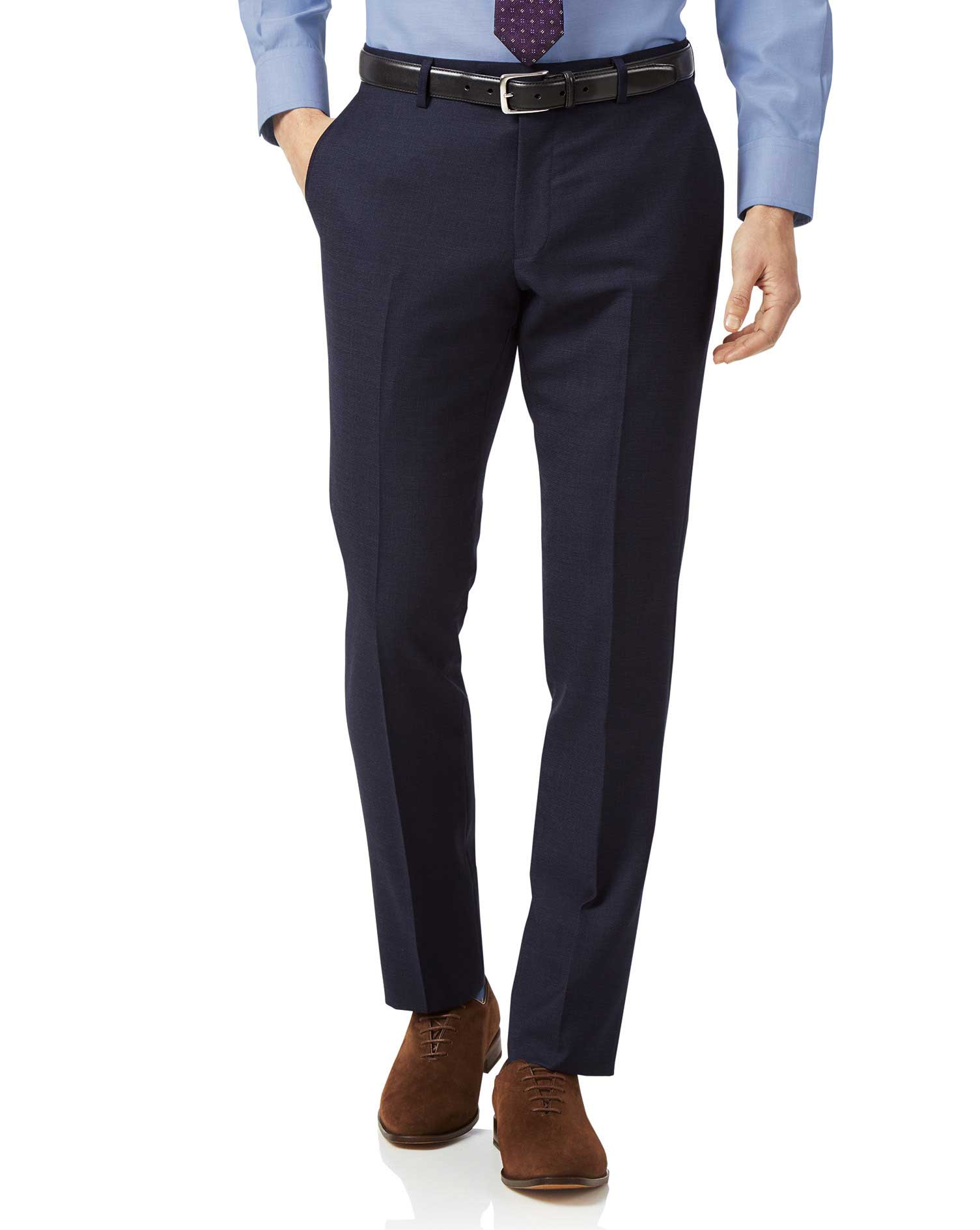 Navy slim fit jaspe business suit trousers