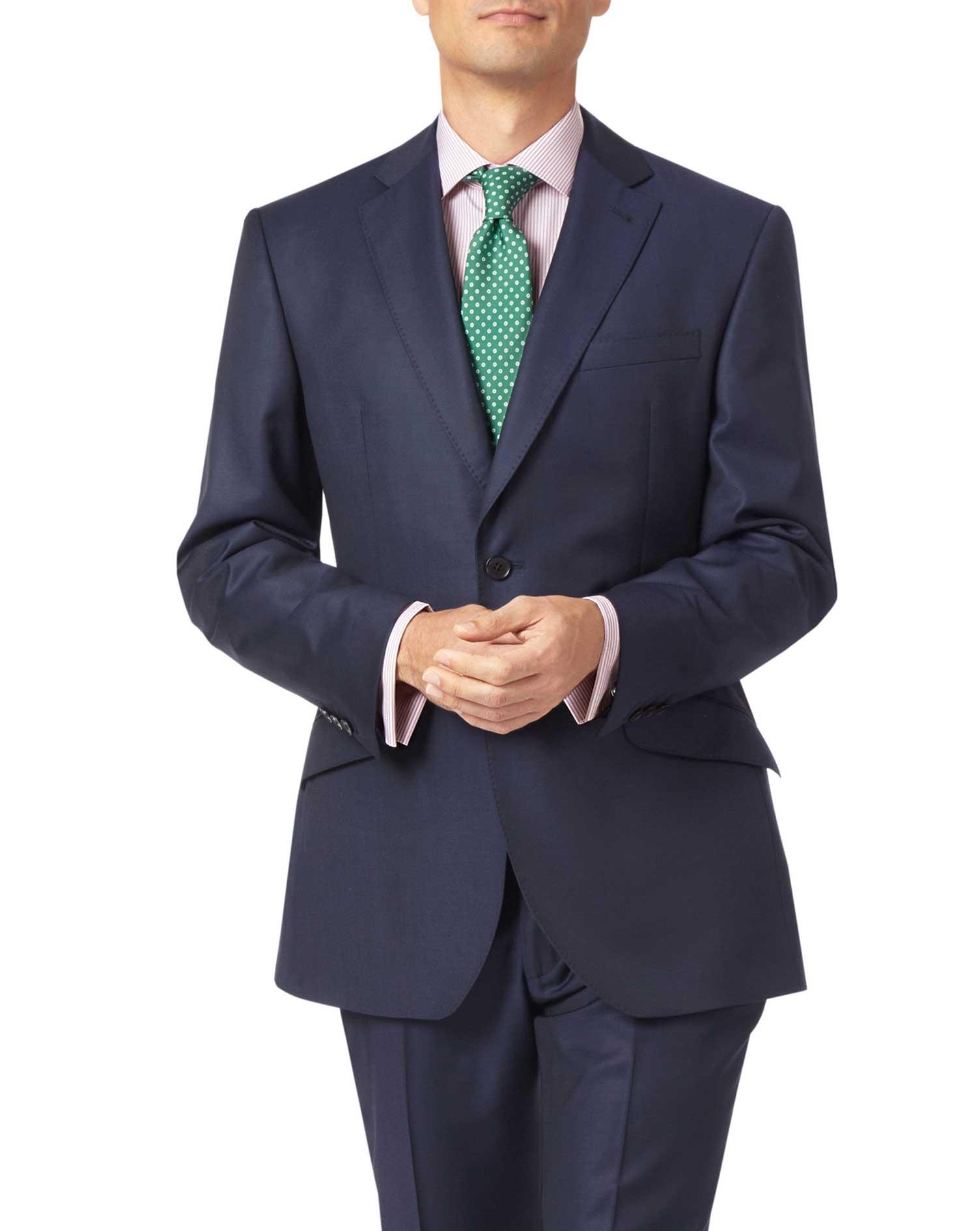 Navy Slim Fit Luxury Italian Suit Wool Jacket Size 38 Regular by Charles Tyrwhitt