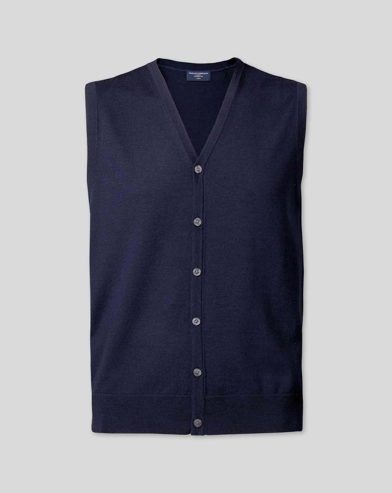 Merino Waistcoat - Navy Size Large by - Charles Tyrwhitt - Modalova