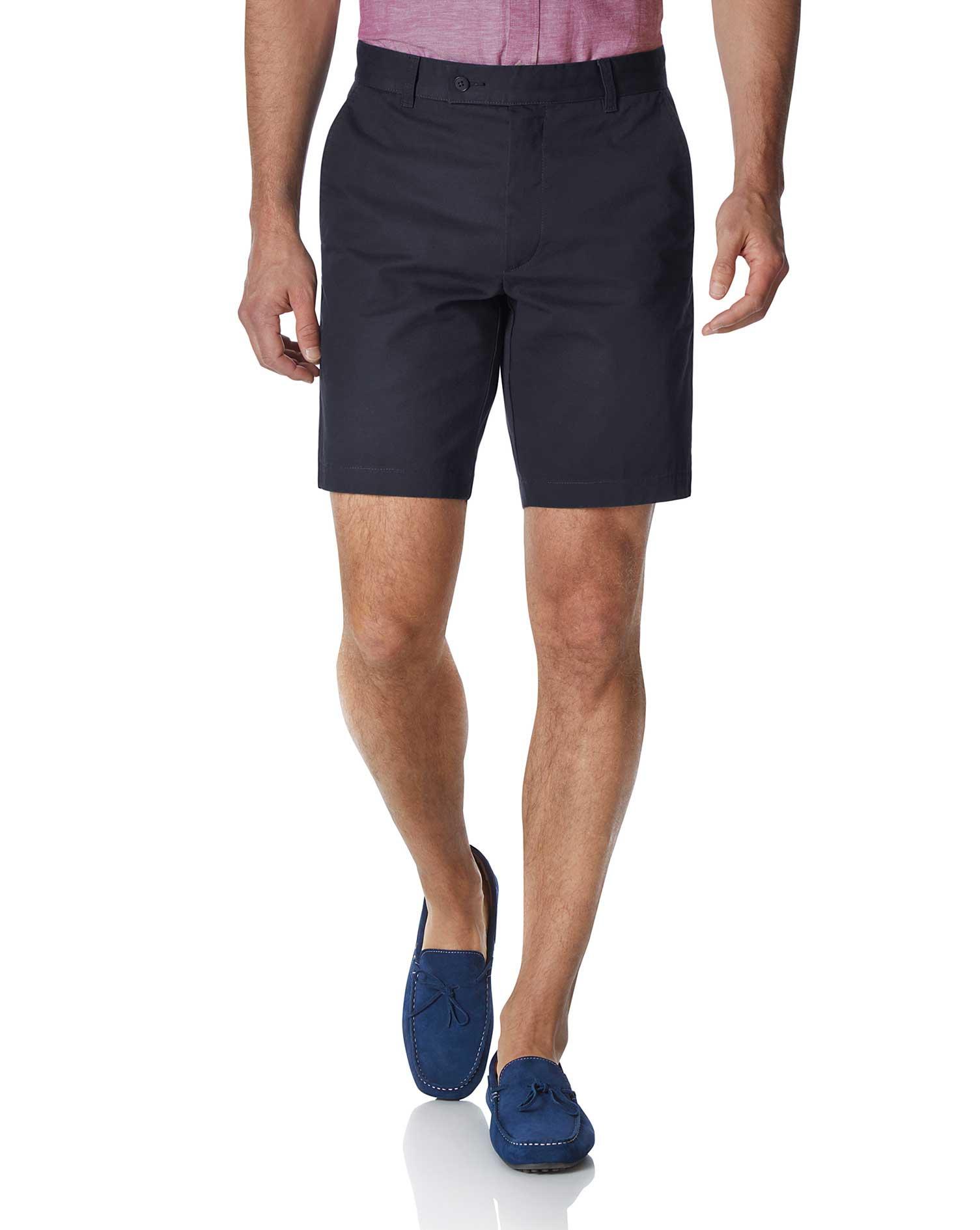 Navy Chino Cotton Shorts Size 36 by Charles Tyrwhitt