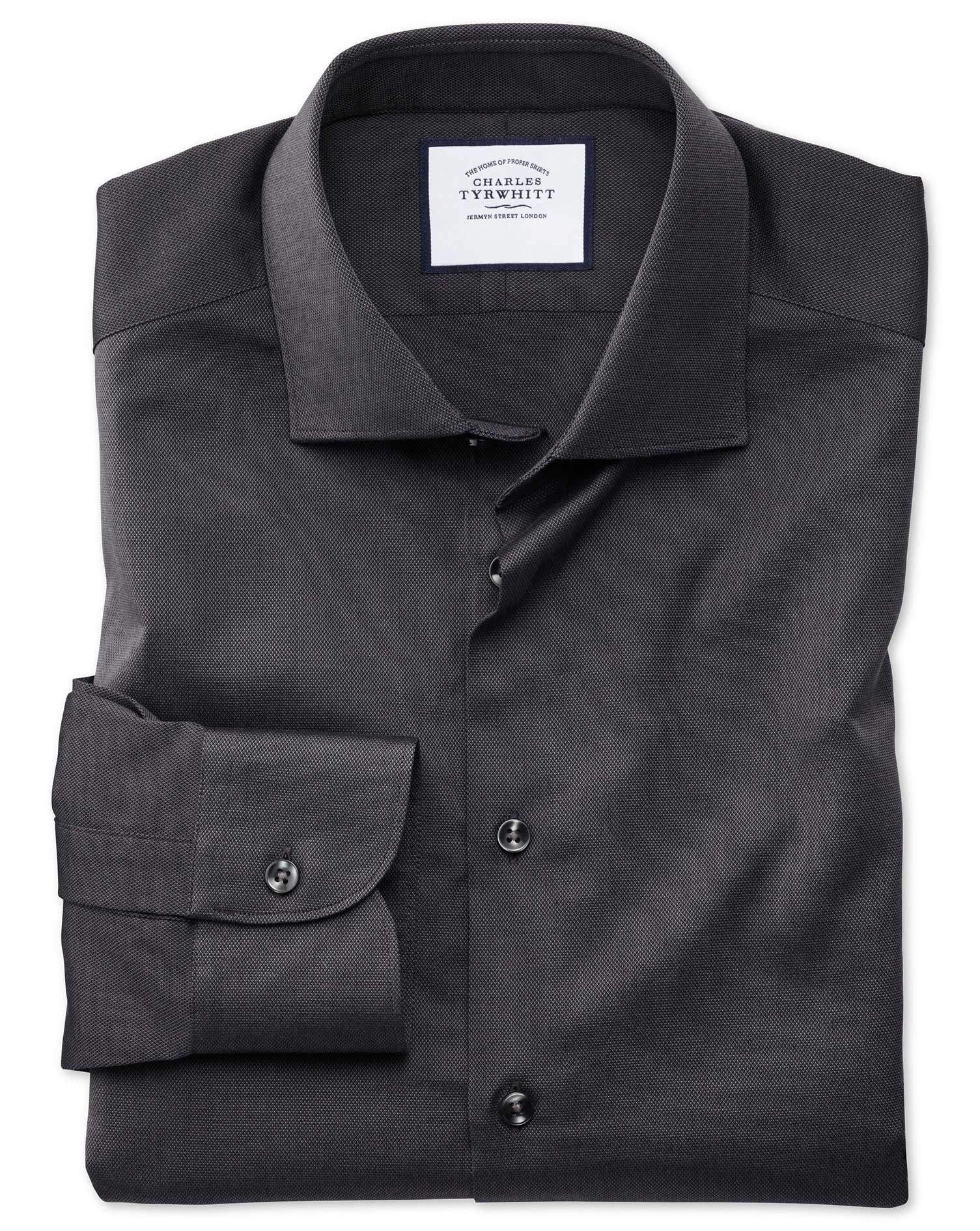Slim Fit Business Casual Charcoal Royal Oxford Cotton Formal Shirt Single Cuff Size 15.5/32 by Charl
