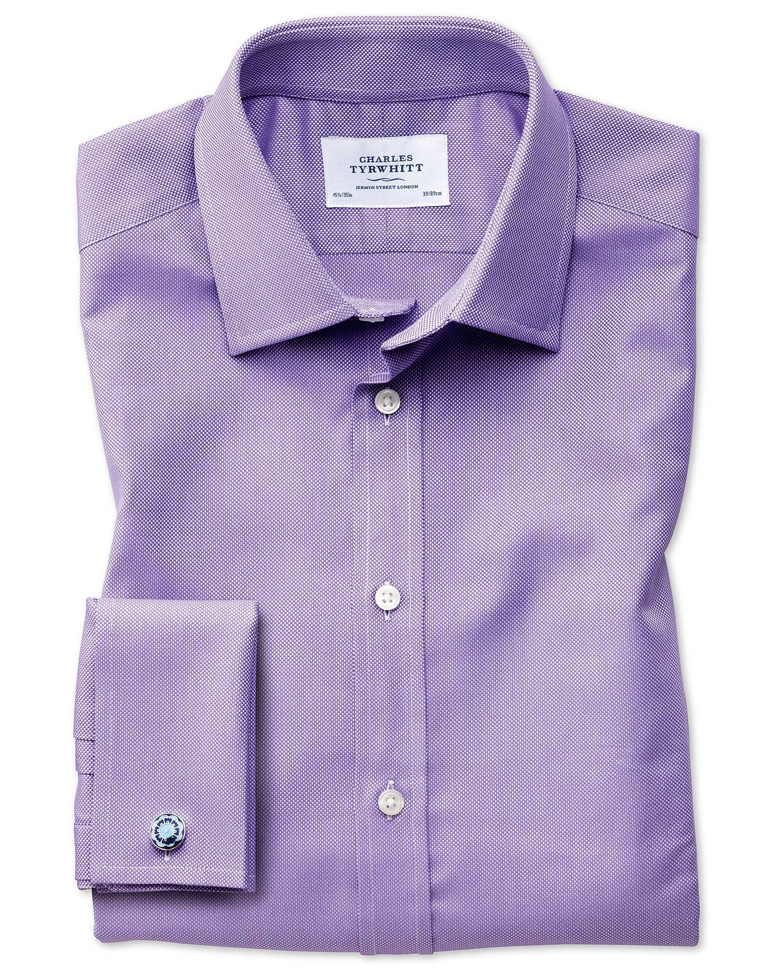 Extra Slim Fit Egyptian Cotton Royal Oxford Lilac Formal Shirt Double Cuff Size 14.5/33 by Charles T