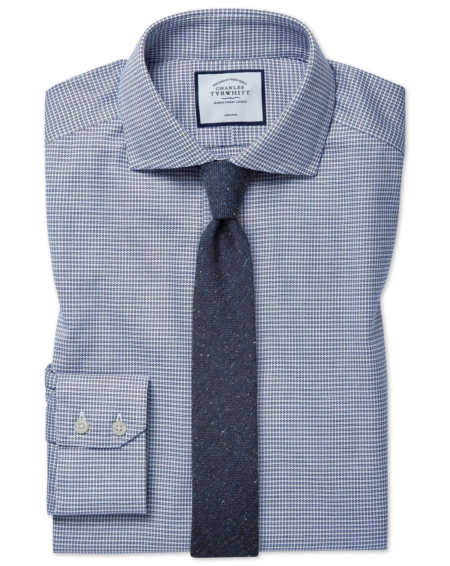 Extra Slim Fit Cutaway Non-Iron Cotton Stretch Navy Shirt