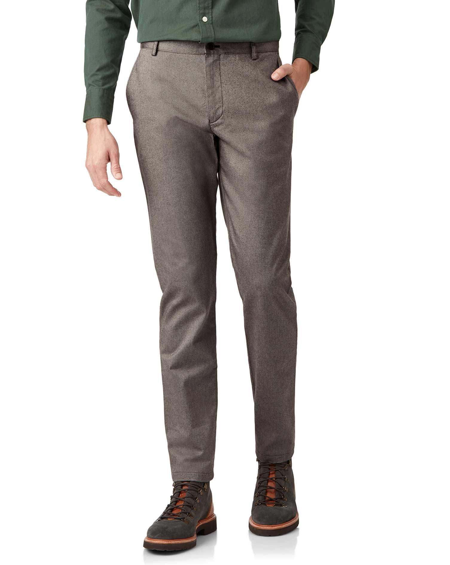 Cotton Brown Brushed Twill Stretch Trousers