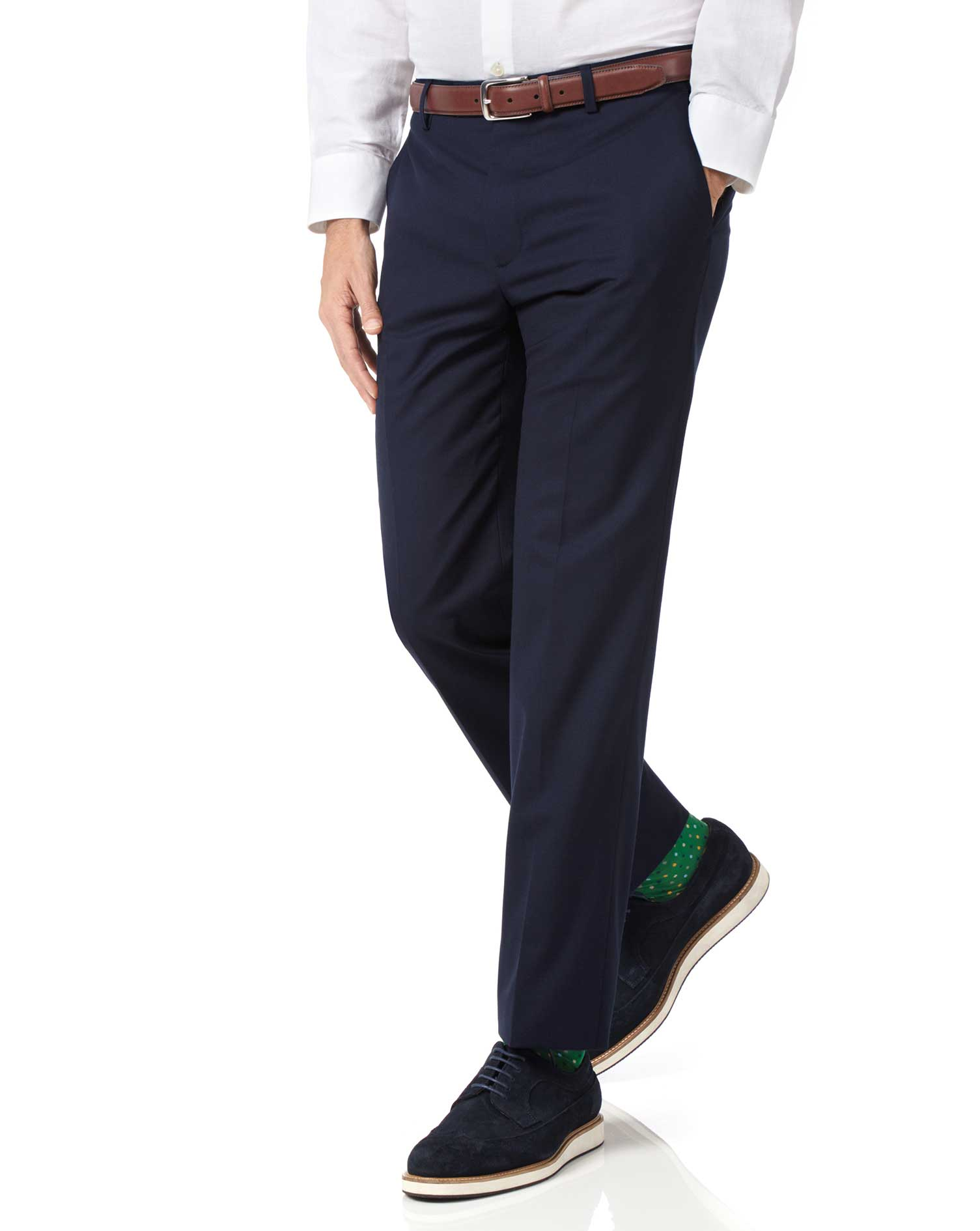 Navy Slim Fit Lightweight Wool Trousers Size W40 L30 by Charles Tyrwhitt